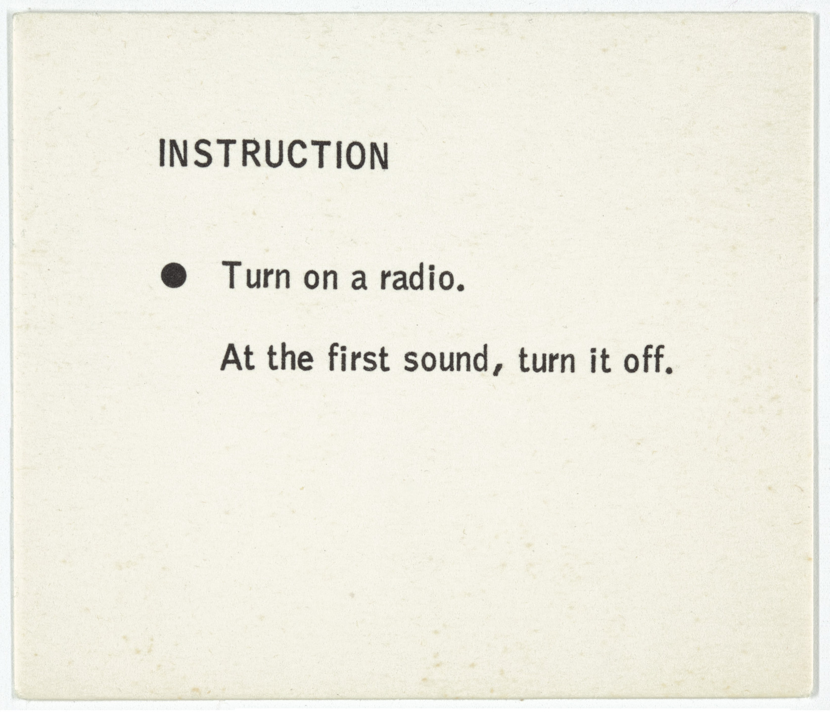George Brecht. Instruction from Water Yam. 1963