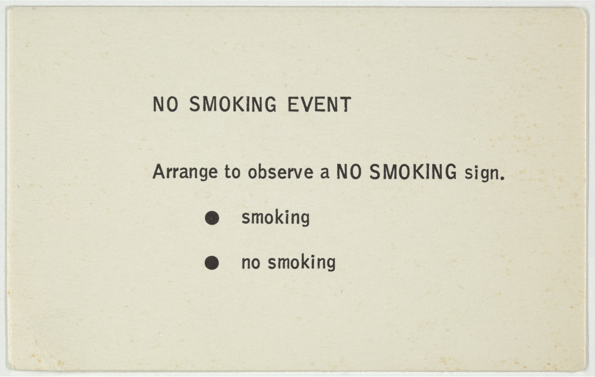 George Brecht. No Smoking Event from Water Yam. 1963