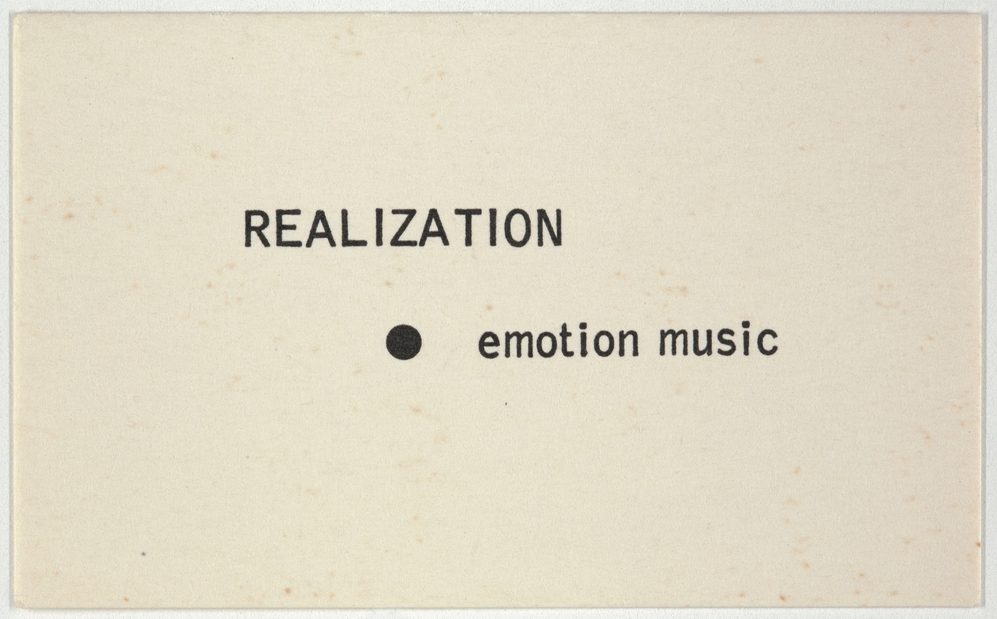 George Brecht. Realization from Water Yam. 1963