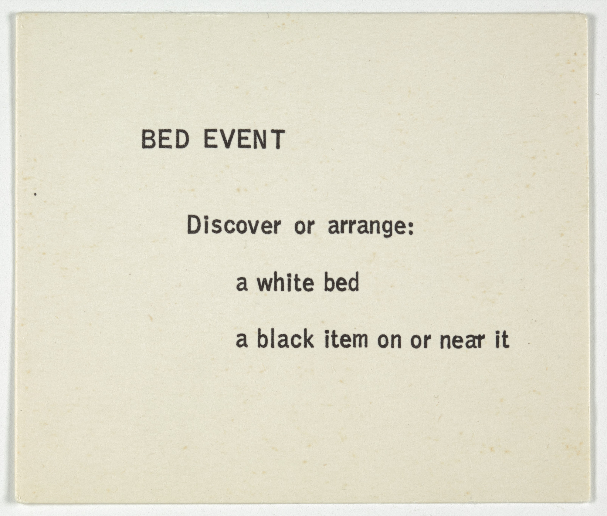George Brecht. Bed Event from Water Yam. 1963