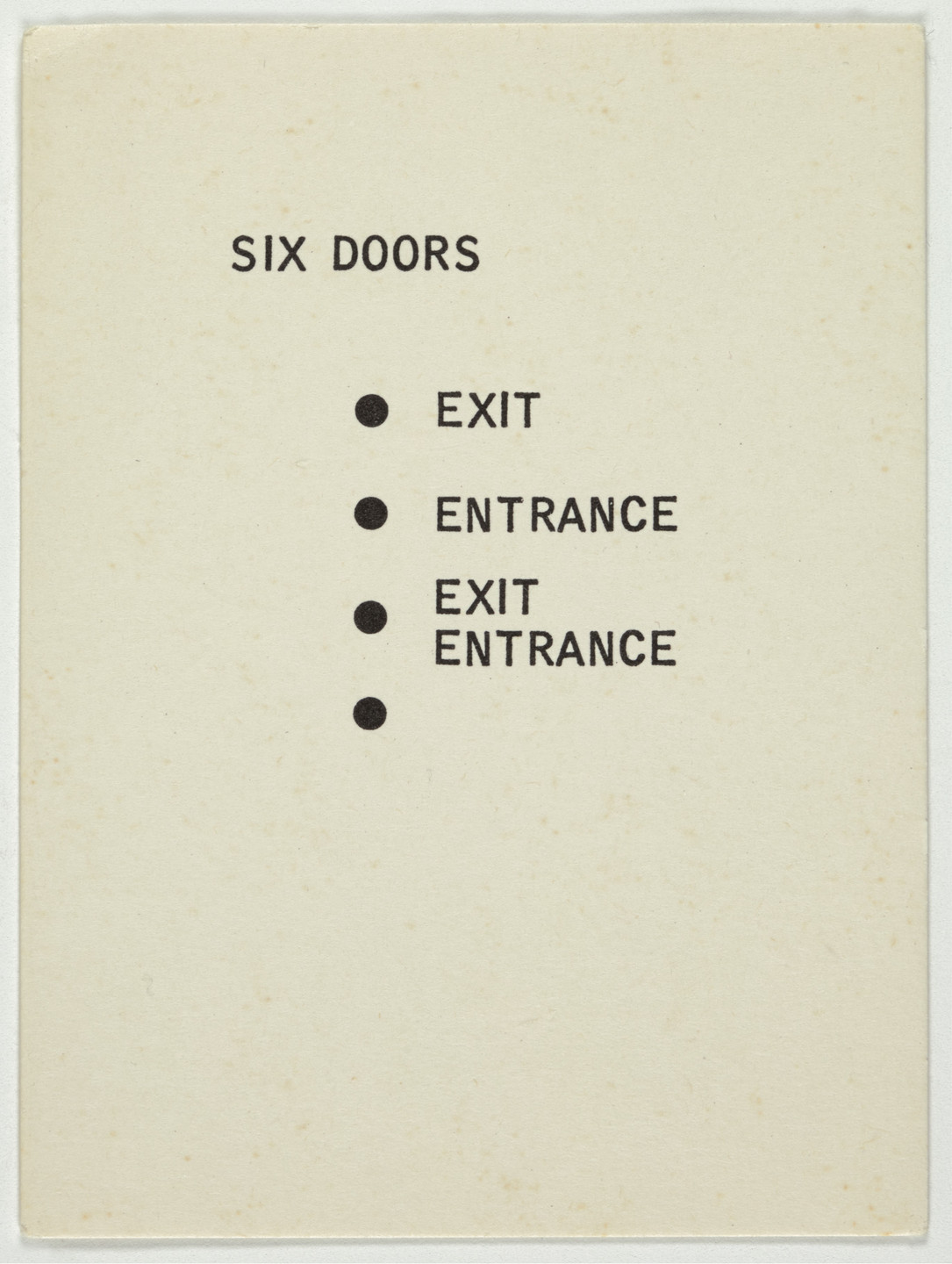 George Brecht. Six Doors from Water Yam. 1963