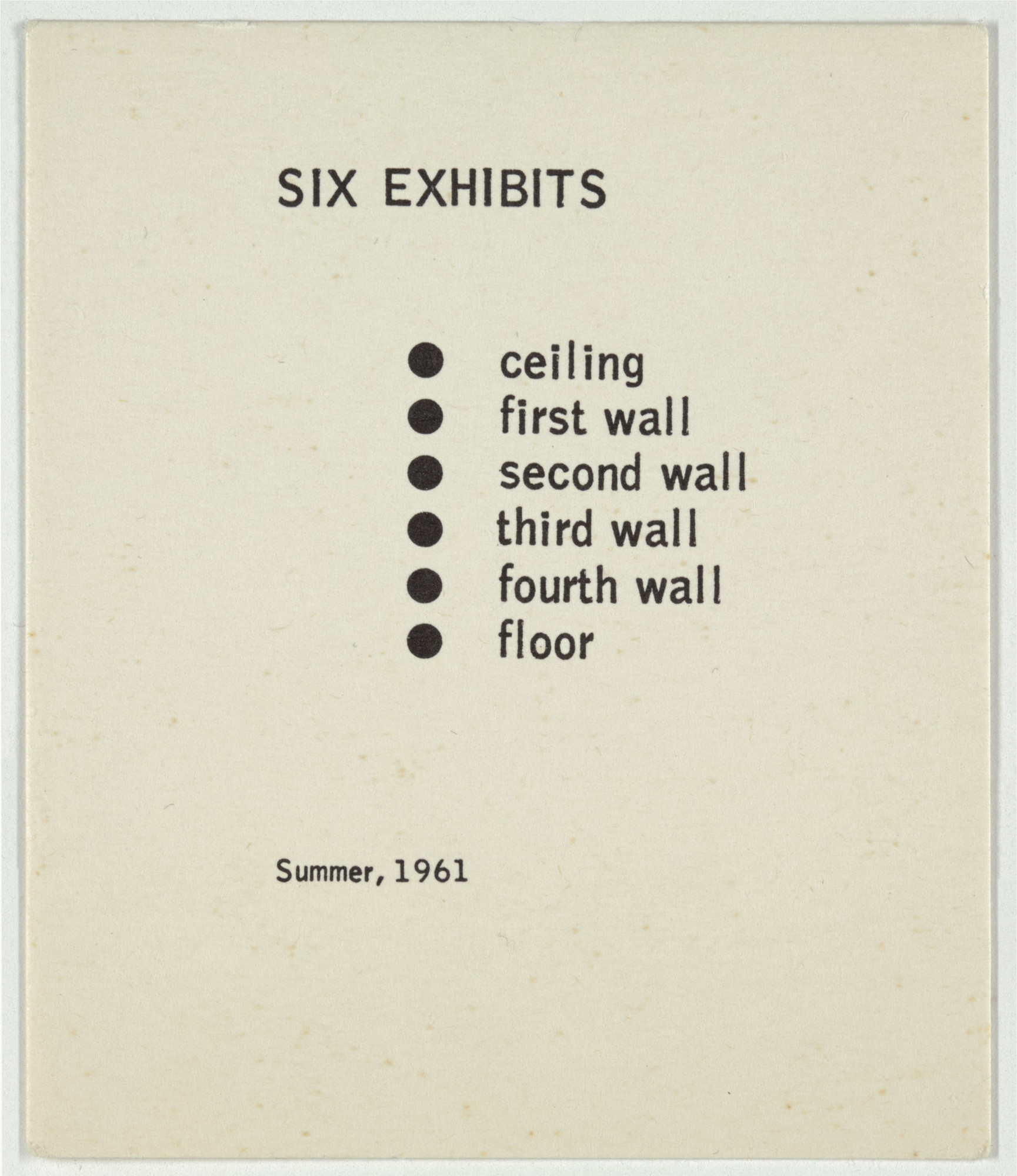 George Brecht. Six Exhibits from Water Yam. 1963