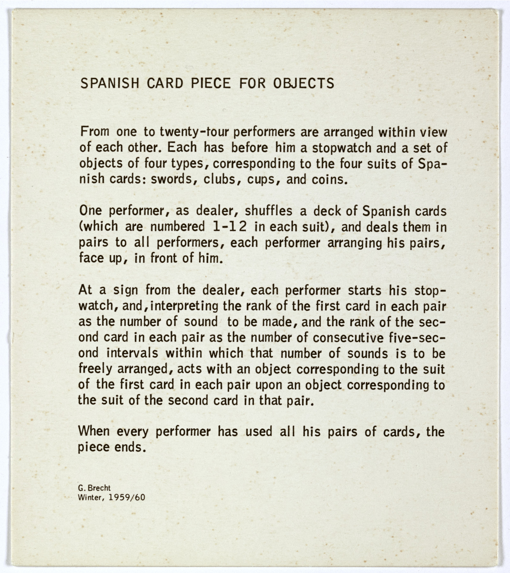 George Brecht. Spanish Card Piece for Objects from Water Yam. 1963
