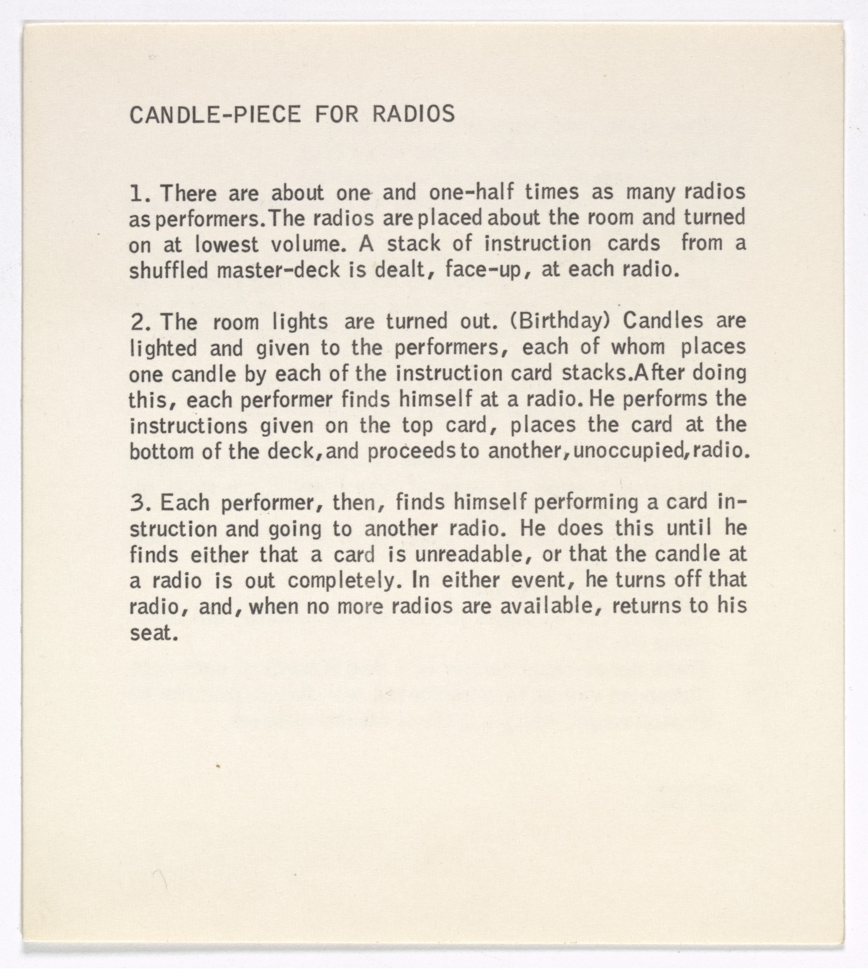George Brecht. Candle-Piece for Radios from Water Yam. 1963