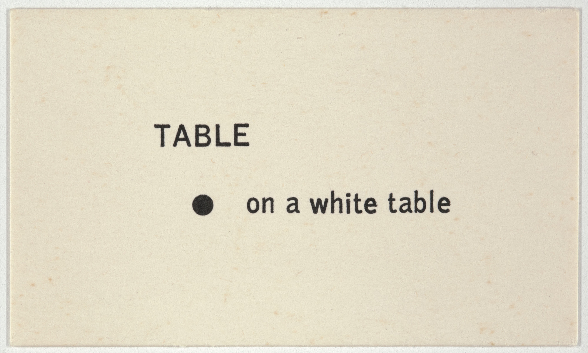 George Brecht. Table from Water Yam. 1963