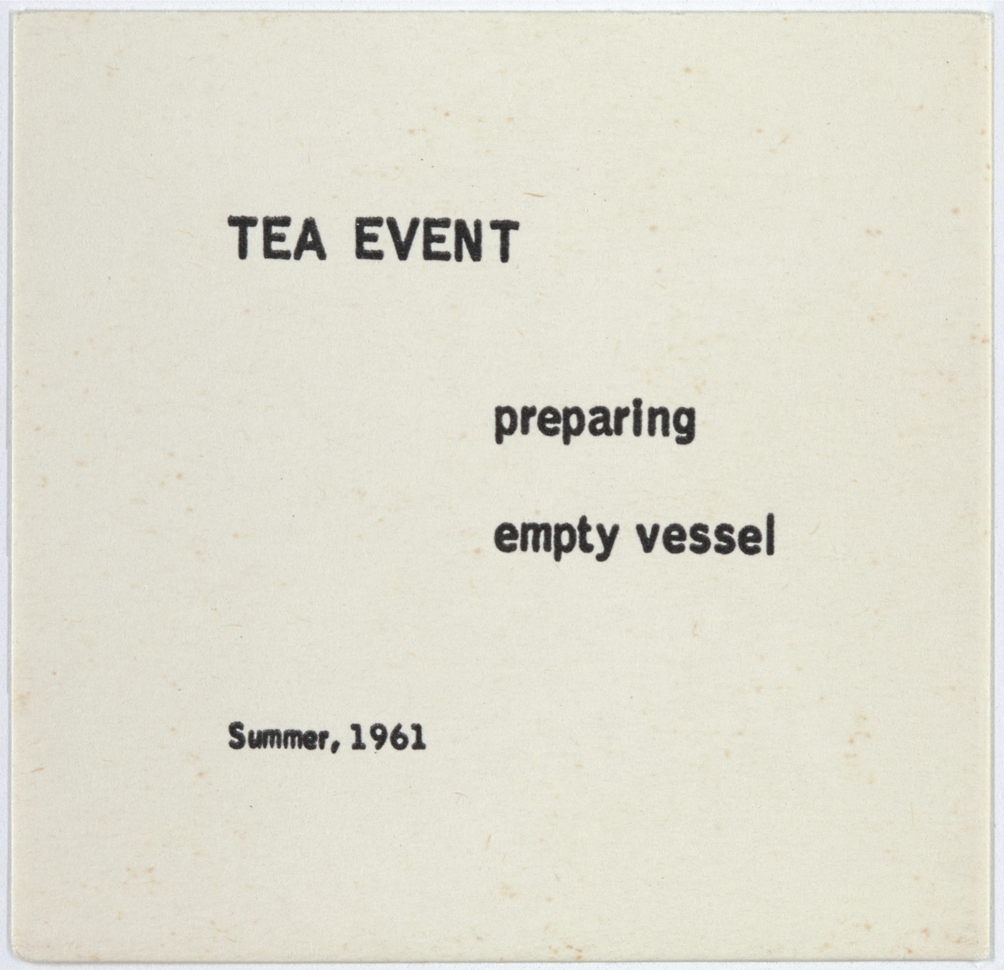 George Brecht. Tea Event from Water Yam. 1963