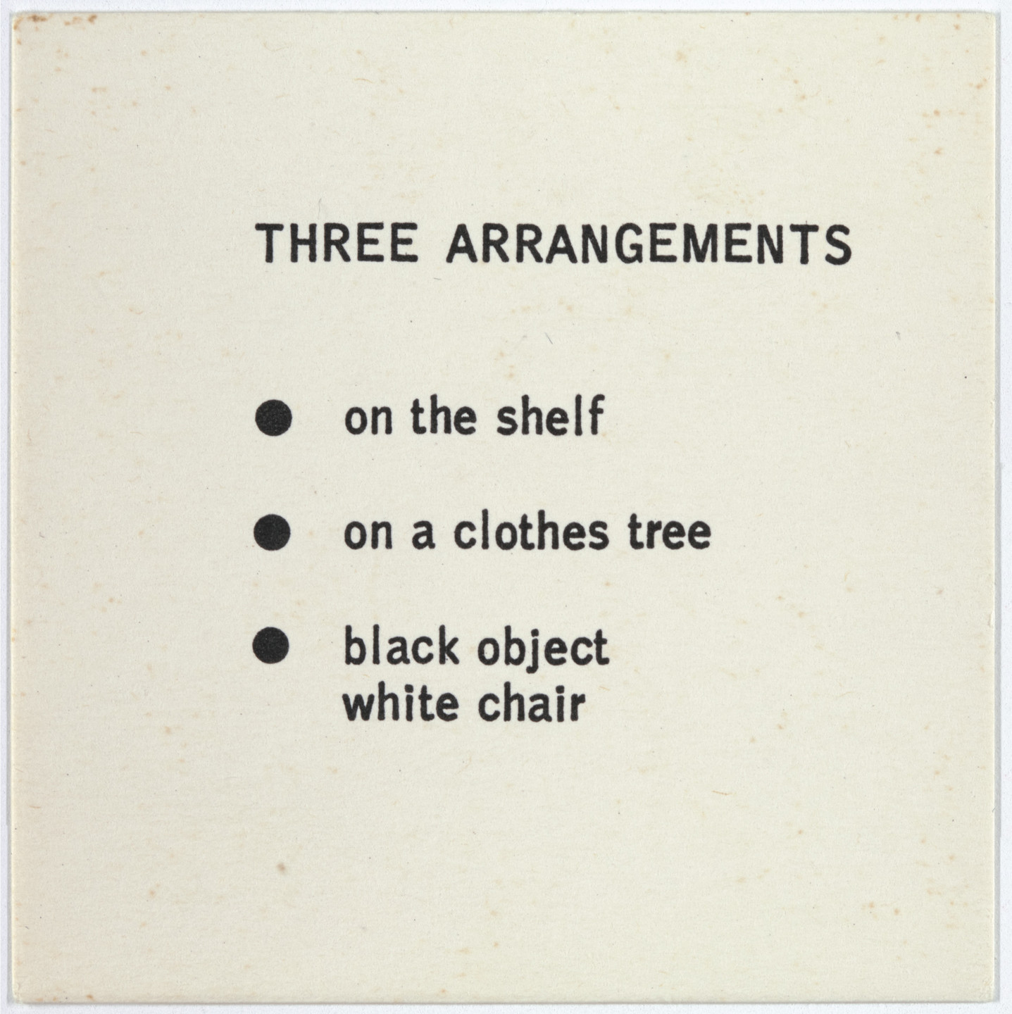 George Brecht. Three Arrangements from Water Yam. 1963