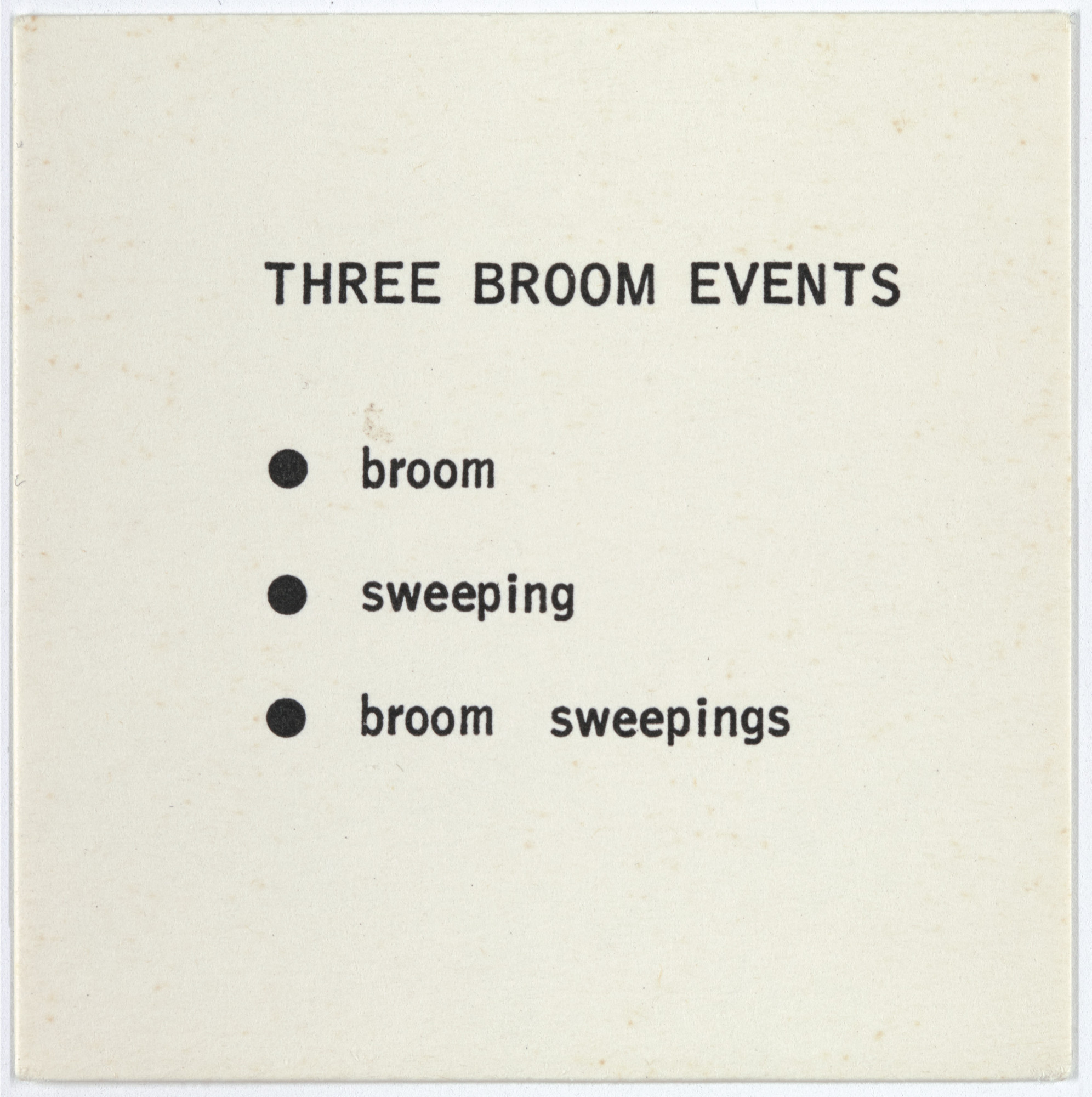 George Brecht. Three Broom Events from Water Yam. 1963