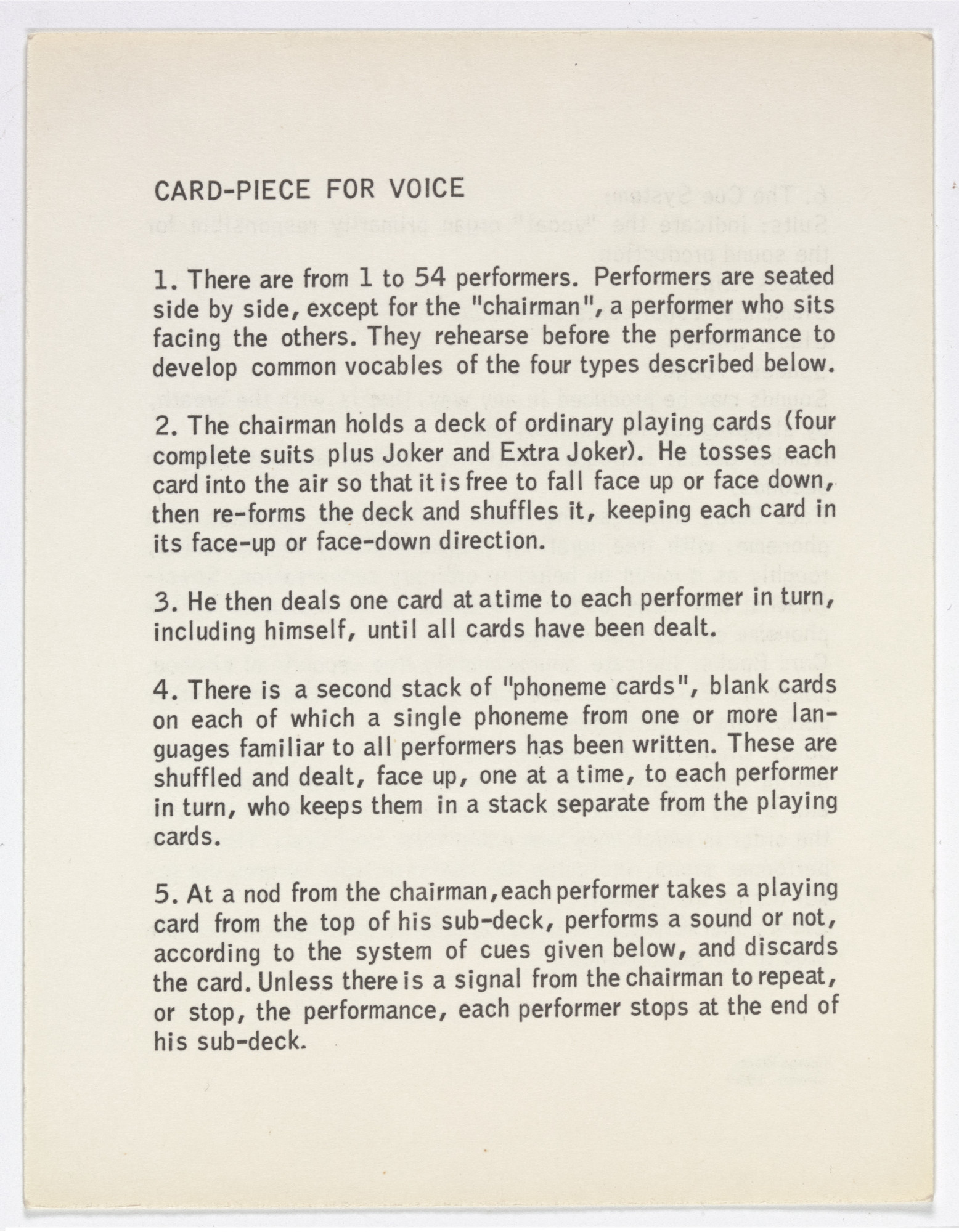 George Brecht. Card-Piece for Voice from Water Yam. 1959