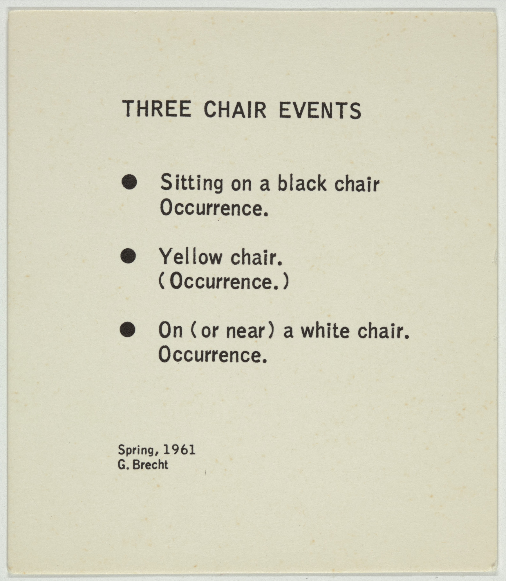 George Brecht. Three Chair Events from Water Yam. 1963