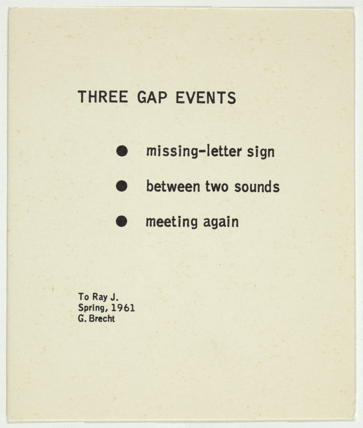 George Brecht. Three Gap Events from Water Yam. 1963