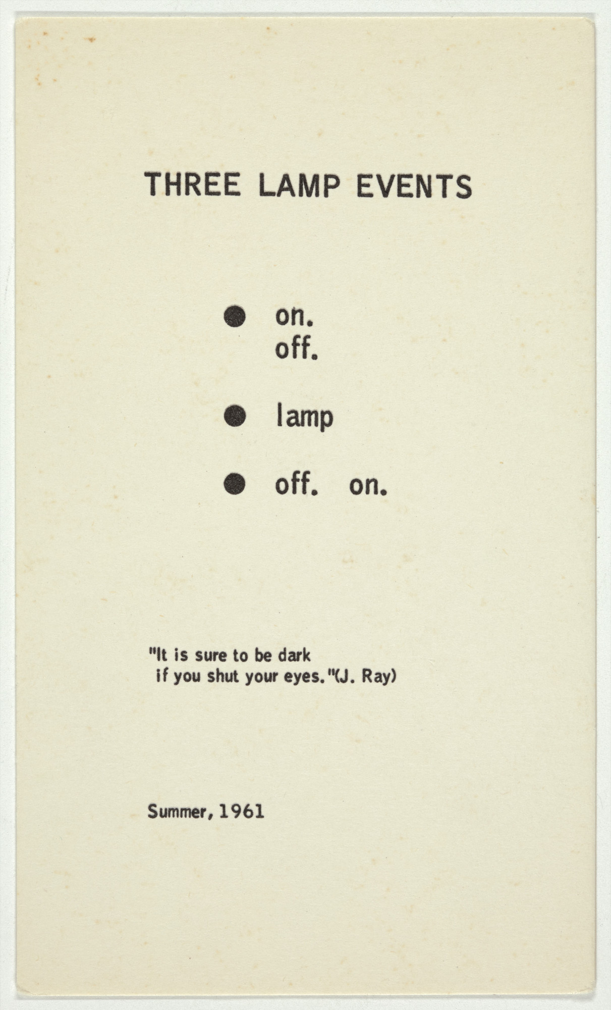 George Brecht. Three Lamp Events from Water Yam. 1963