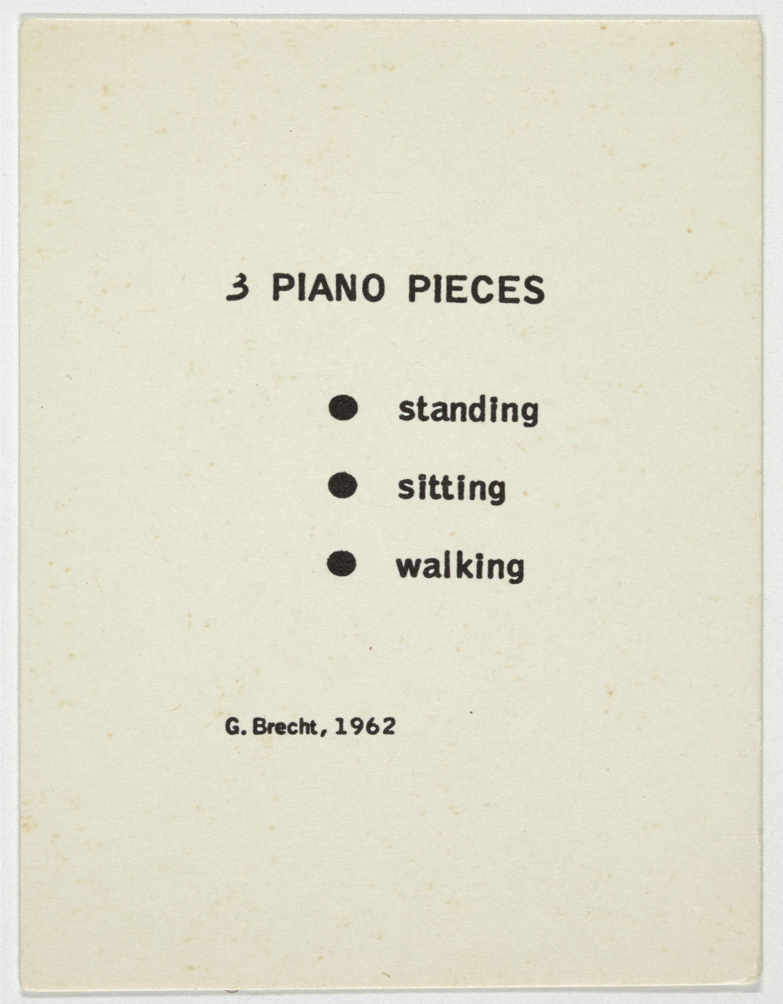 George Brecht. 3 Piano Pieces from Water Yam. 1963