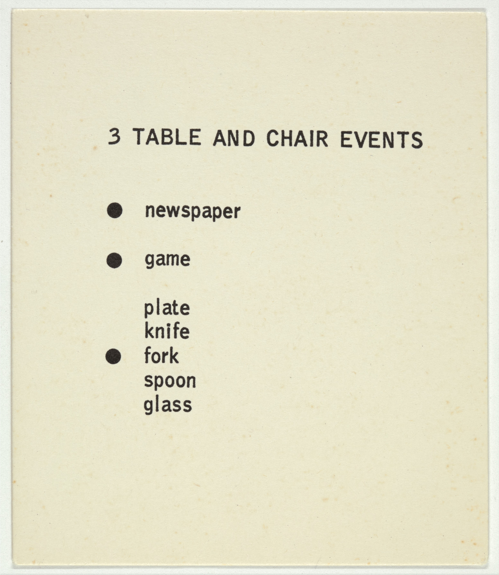 George Brecht. 3 Table and Chair Events from Water Yam. 1963