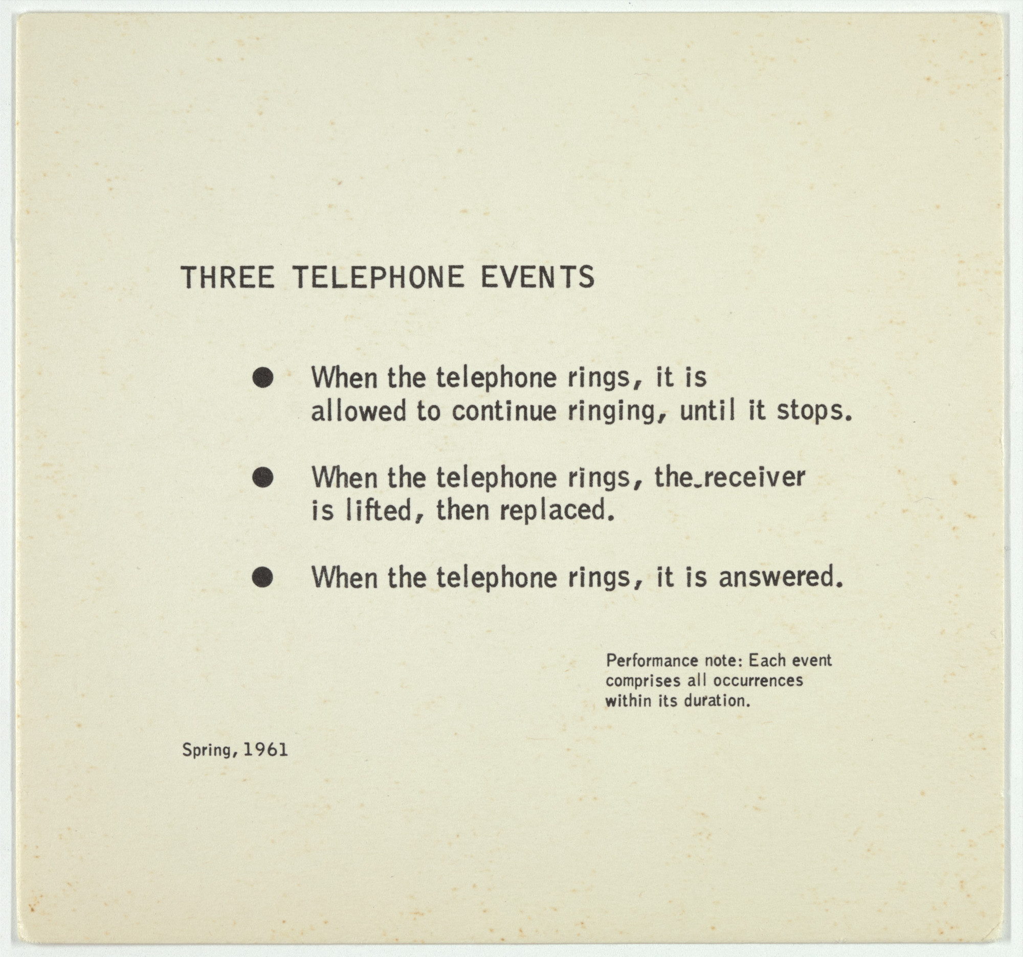 George Brecht. Three Telephone Events from Water Yam. 1963