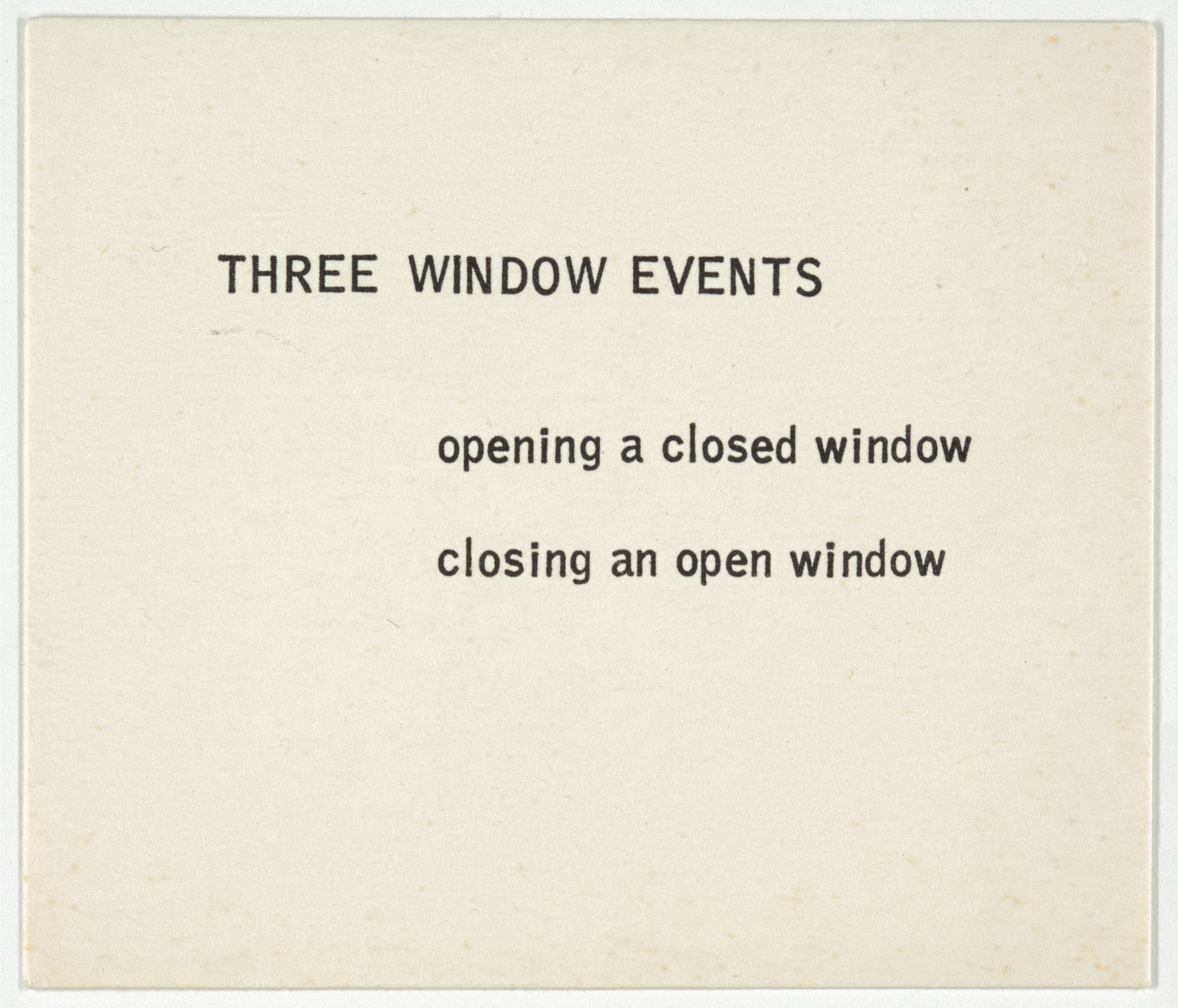 George Brecht. Three Window Events from Water Yam. 1963