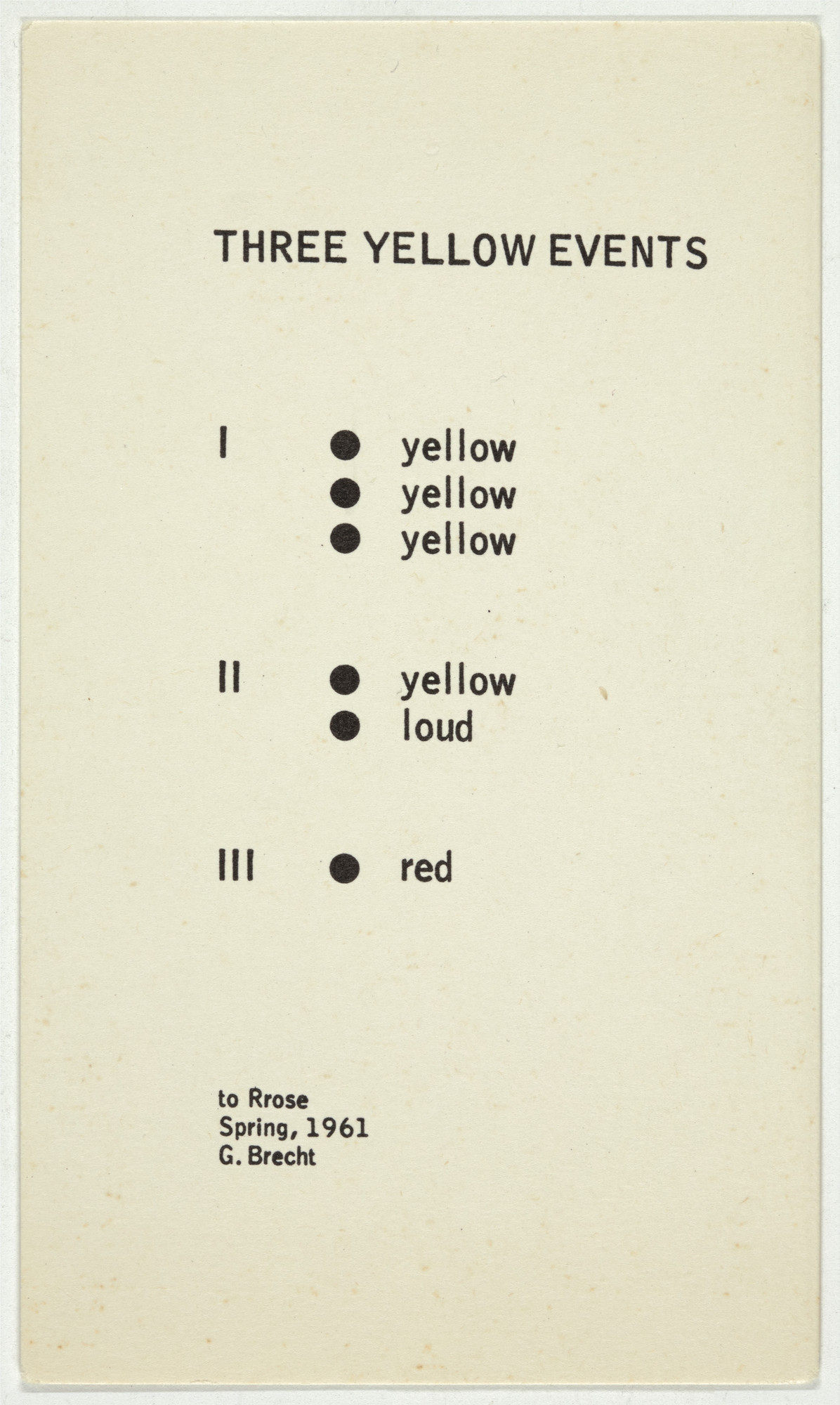 George Brecht. Three Yellow Events from Water Yam. 1963