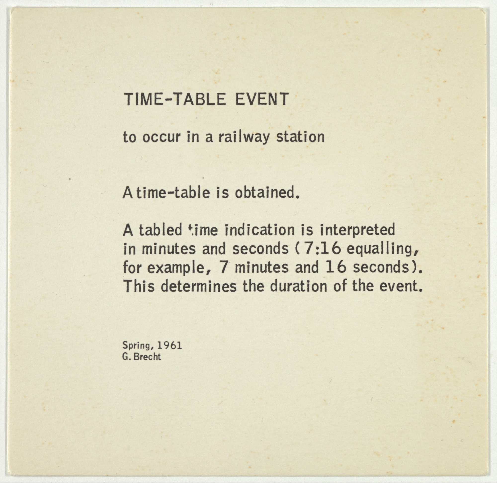 George Brecht. Time-Table Event from Water Yam. 1963