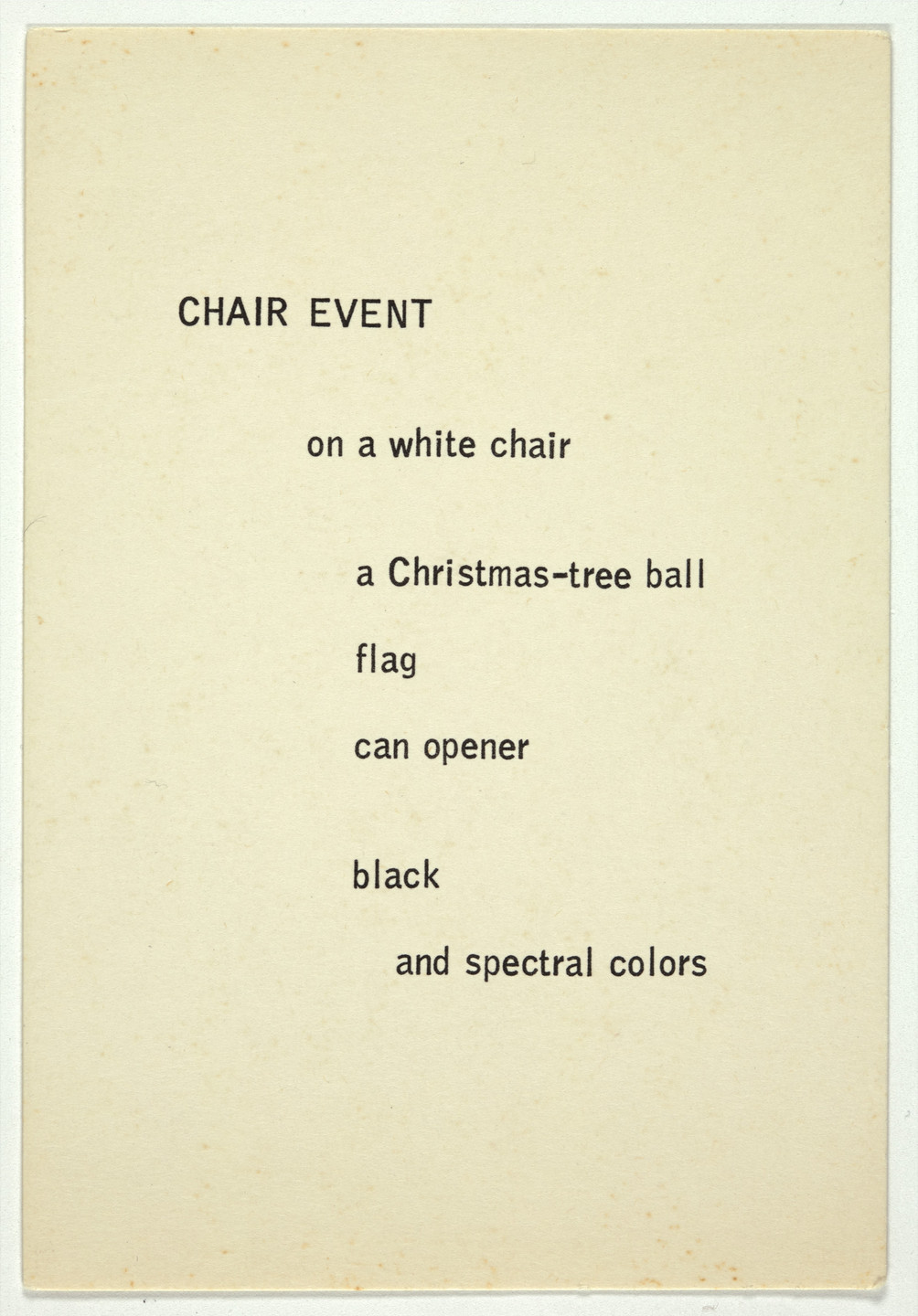George Brecht. Chair Event from Water Yam. 1963