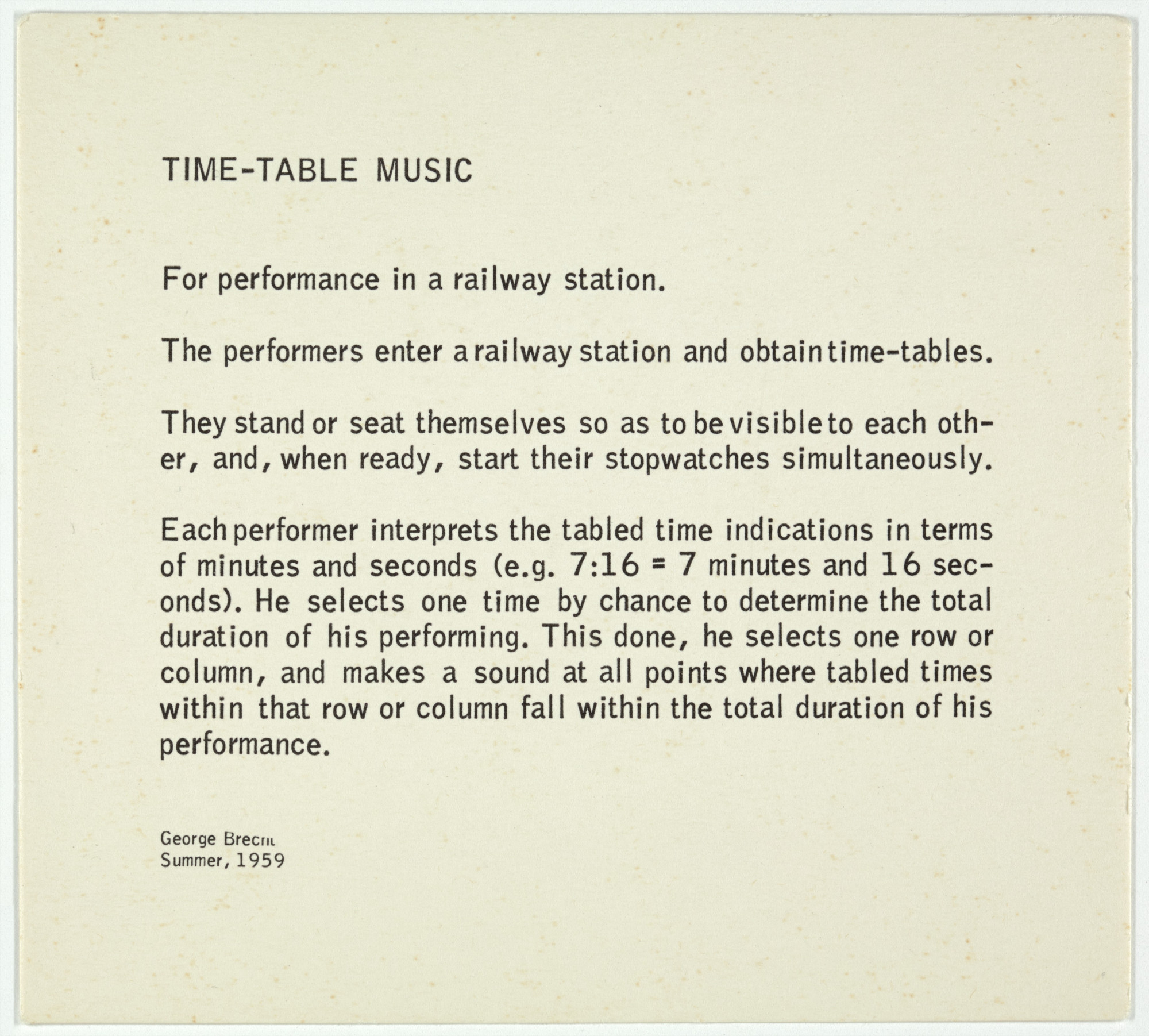 George Brecht. Time-Table Music from Water Yam. 1963