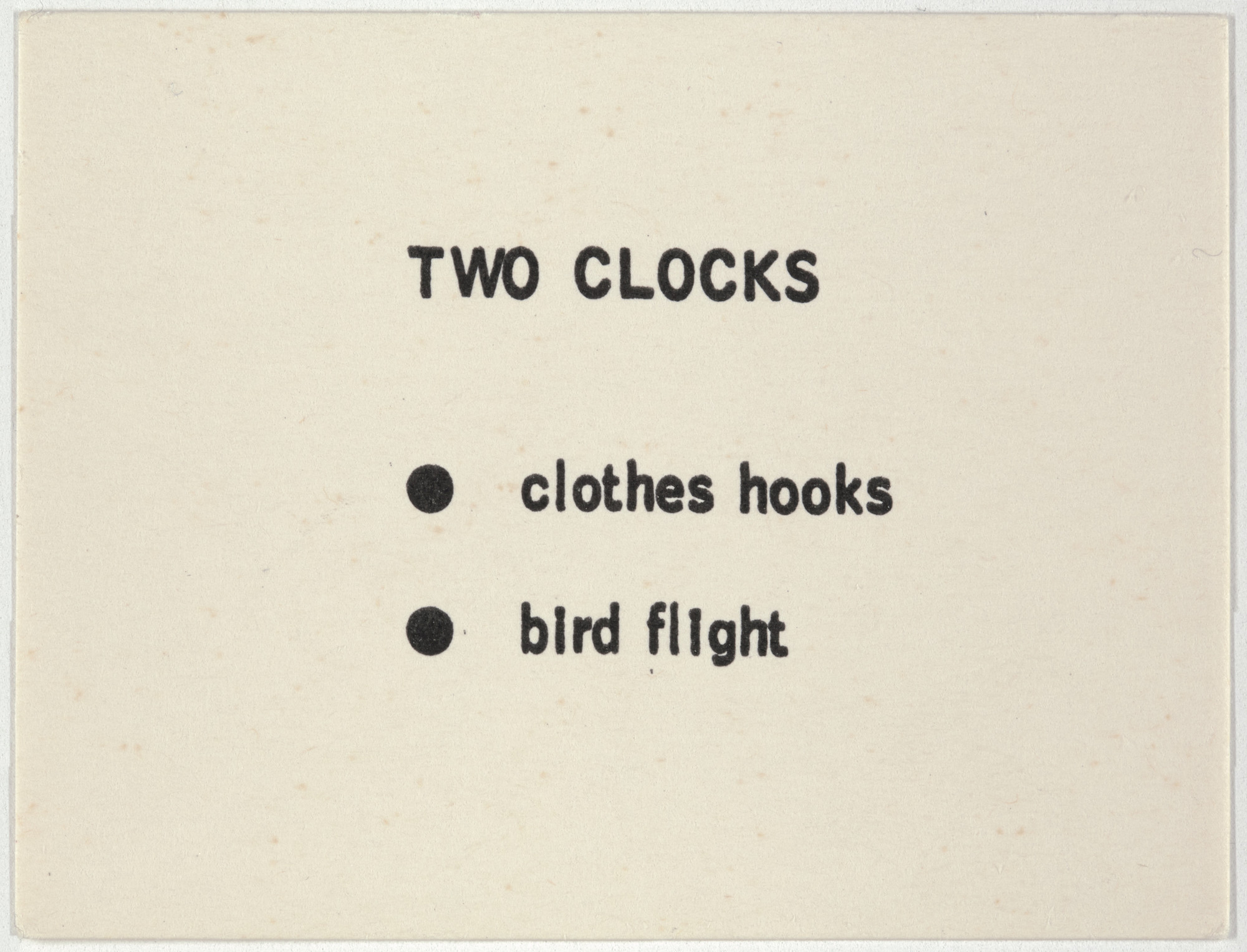 George Brecht. Two Clocks from Water Yam. 1963