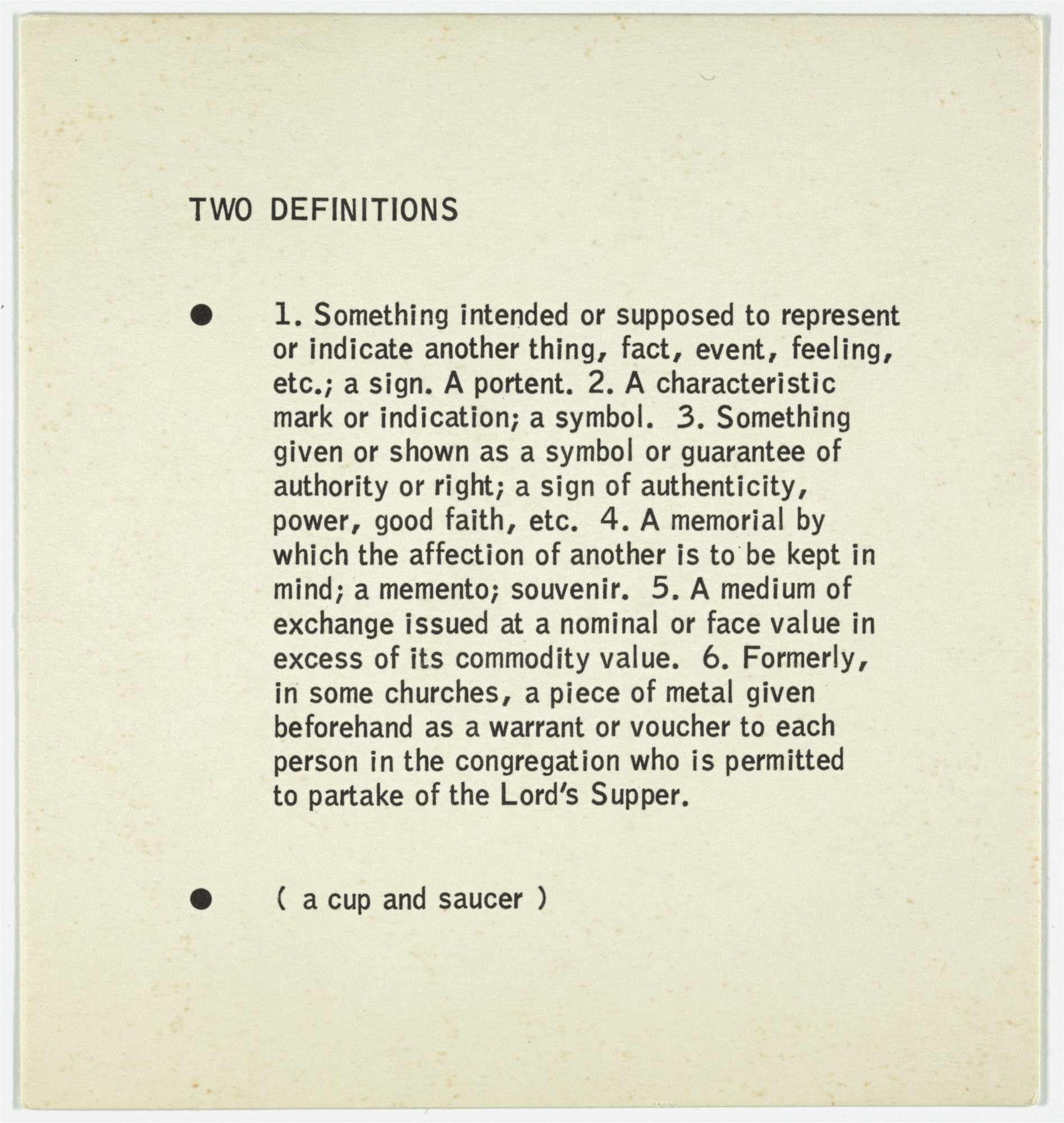 George Brecht. Two Definitions from Water Yam. 1963