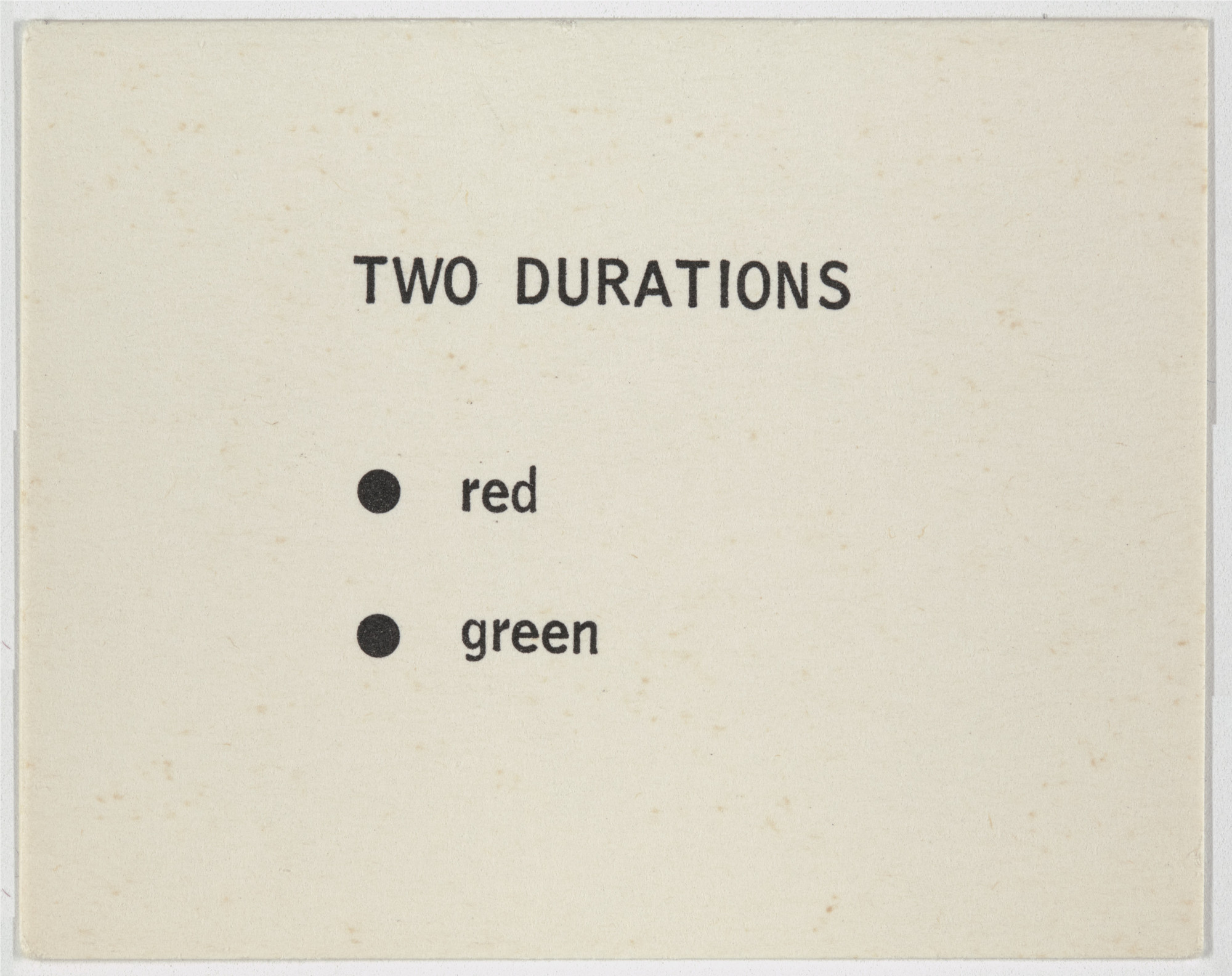 George Brecht. Two Durations from Water Yam. 1963