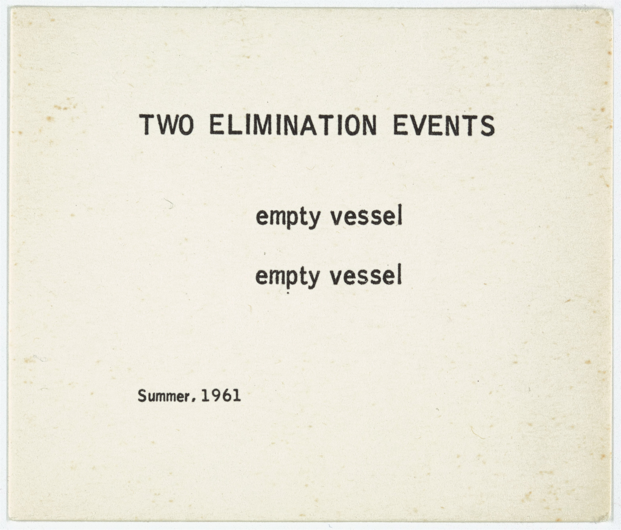 George Brecht. Two Elimination Events from Water Yam. 1963
