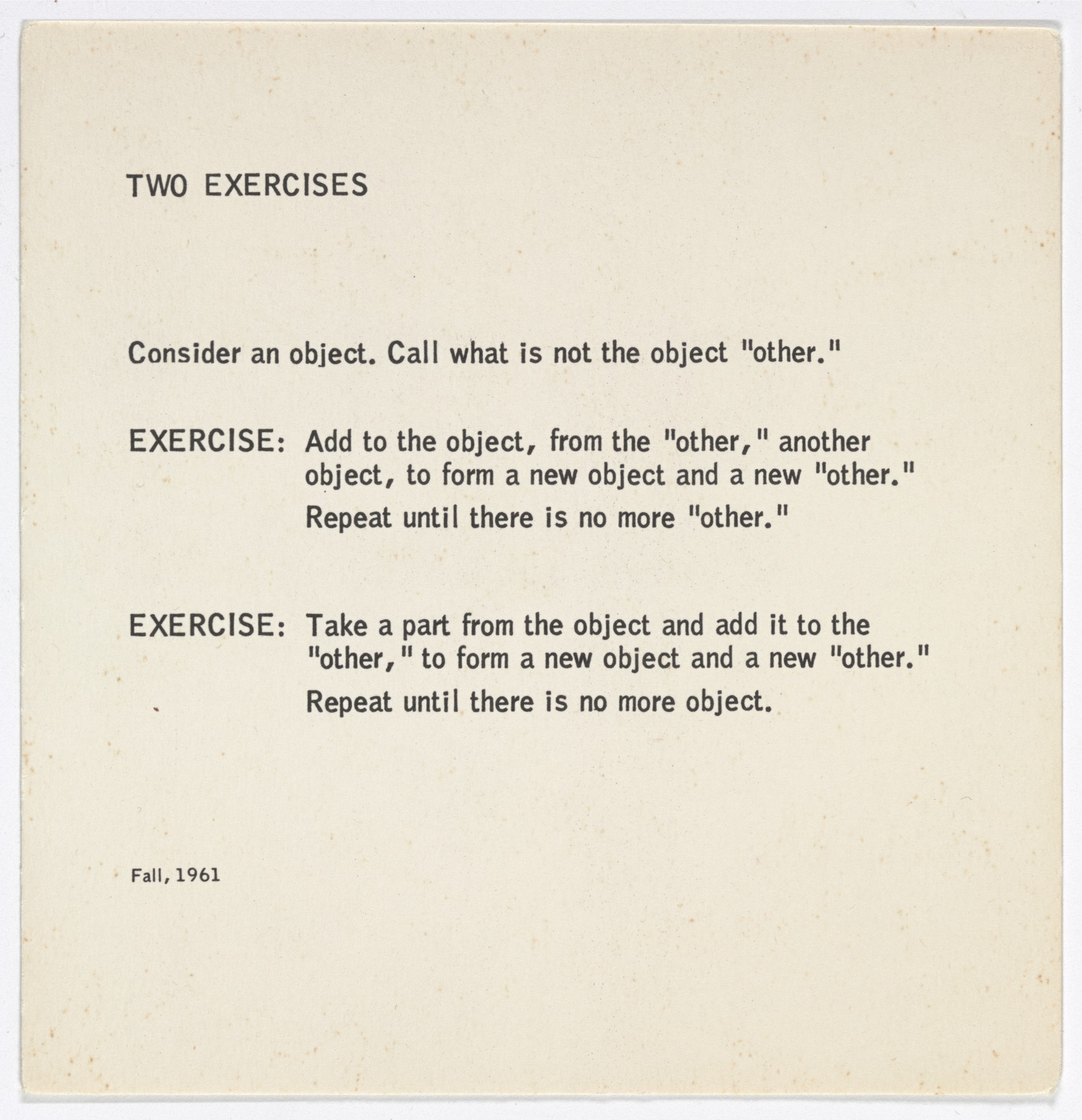 George Brecht. Two Excercises from Water Yam. 1963