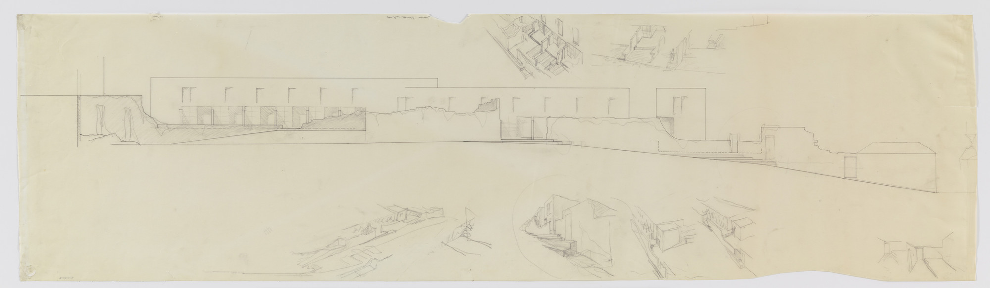 Álvaro Siza. SAAL S. Victor Social Housing, Porto, Portugal (Elevation and perspective sketches). 1974-1977