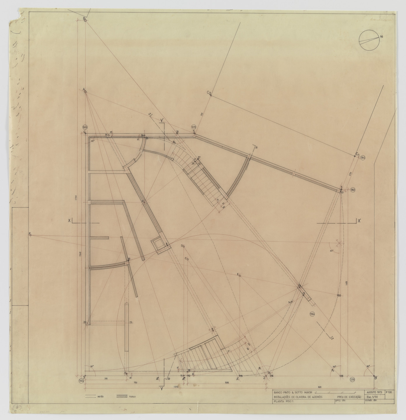 Álvaro Siza. Banco Pinto & Sotto Mayor, Oliveira de Azeméis, Portugal (First floor plan). 1971-1974