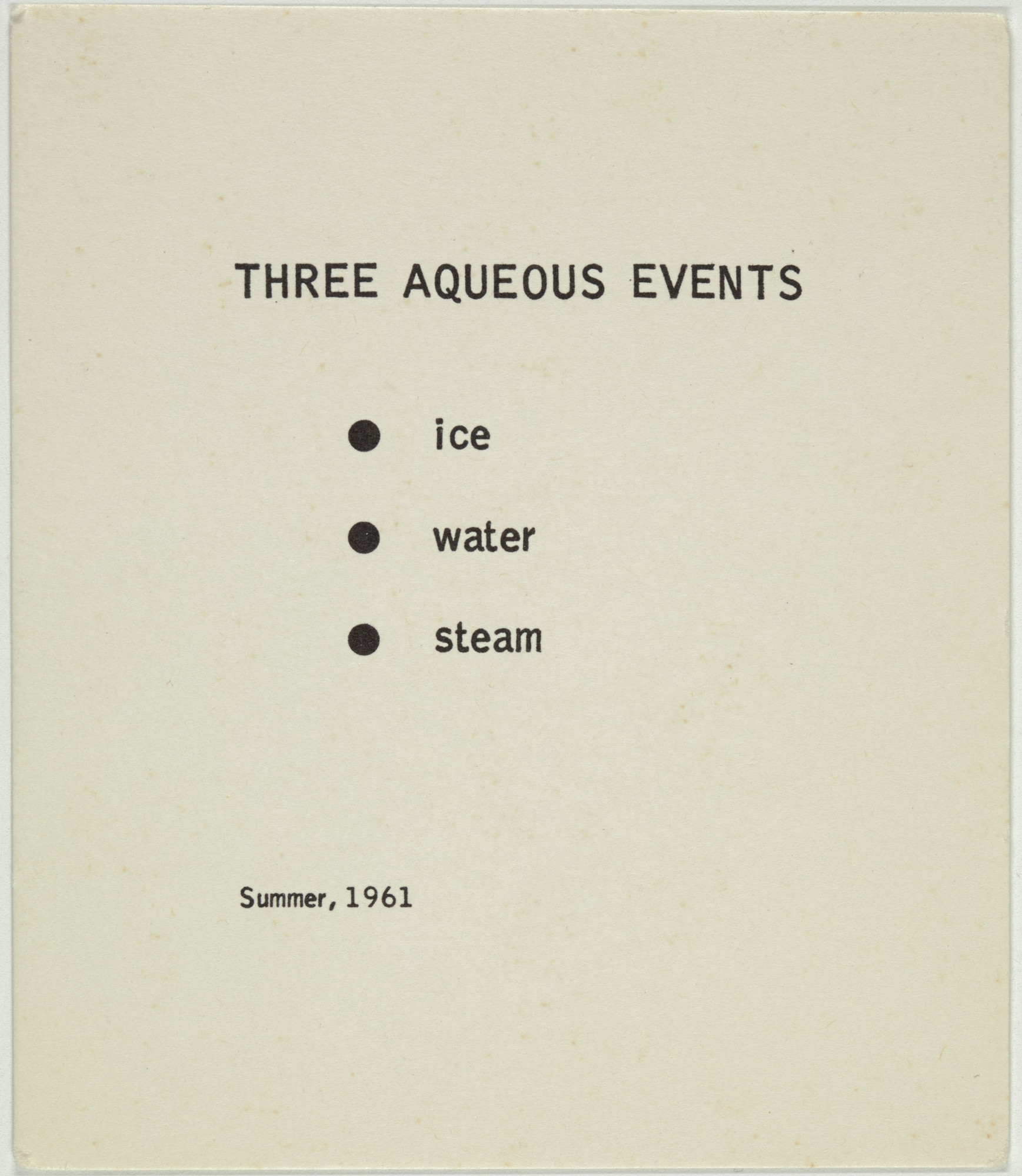 George Brecht. Three Aqueous Events from Water Yam. 1963