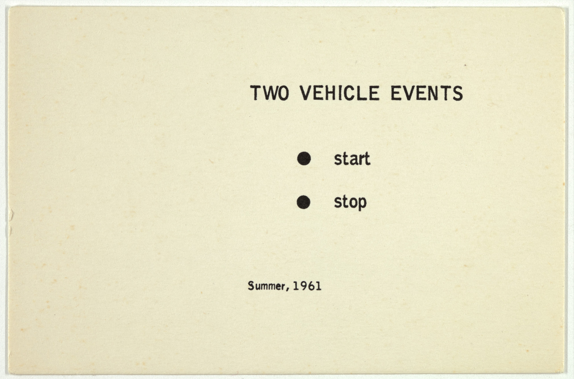 George Brecht. Two Vehicle Events from Water Yam. 1963