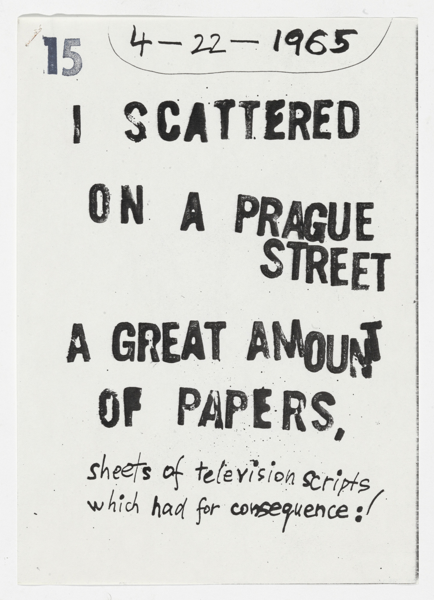 Milan Knížák. I Scattered on a Prague Street a Great Amount of Papers from Performance Files. 1965