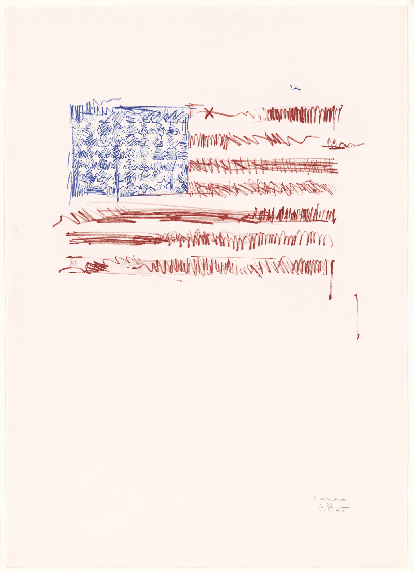 Jasper Johns. Trial proof for Flags II. 1970