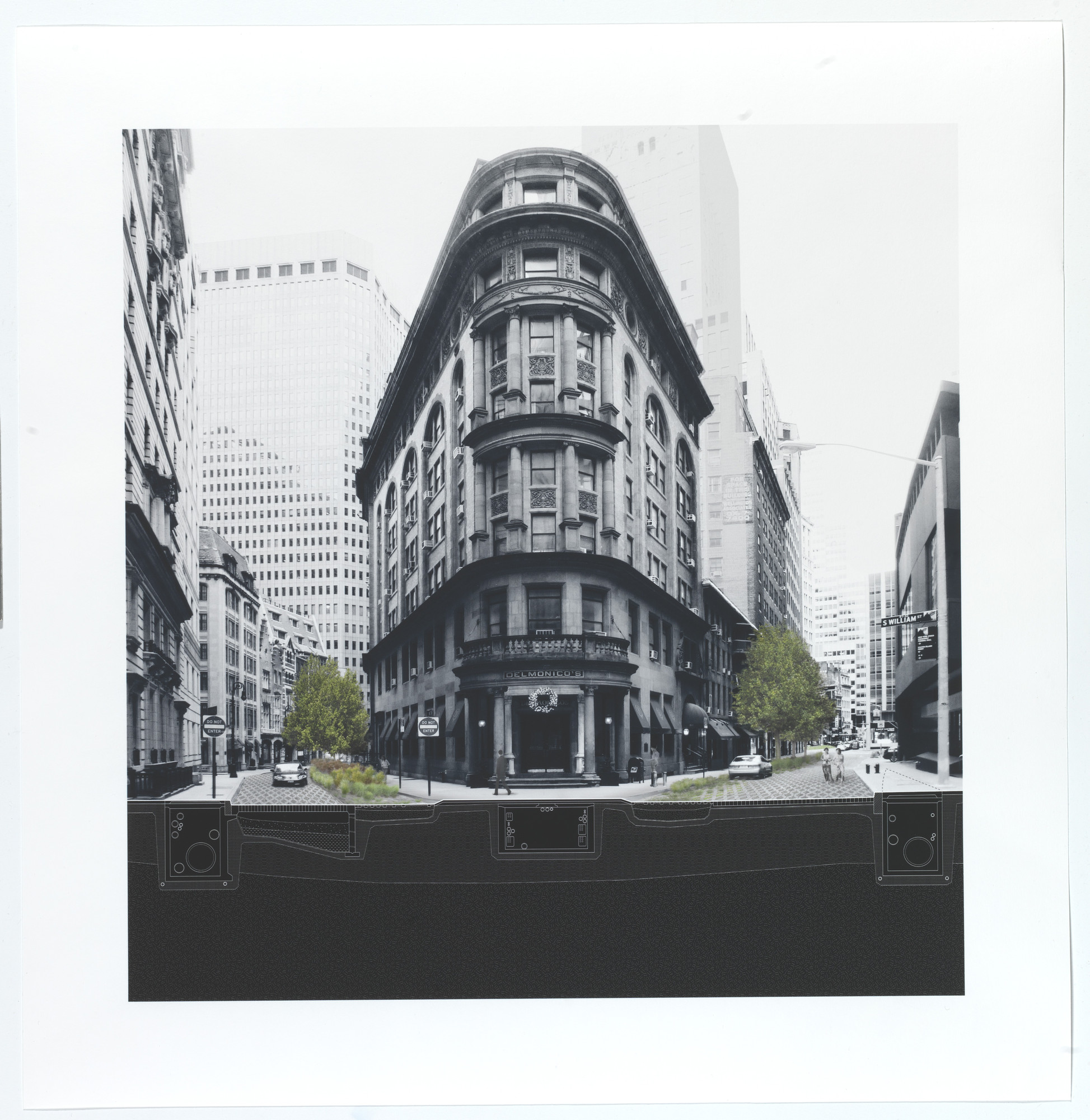 Stephen Cassell, Adam Yarinsky, Kim Yao, Susannah C. Drake. A New Urban Ground, project (Cross-section of Hanover Square). 2010