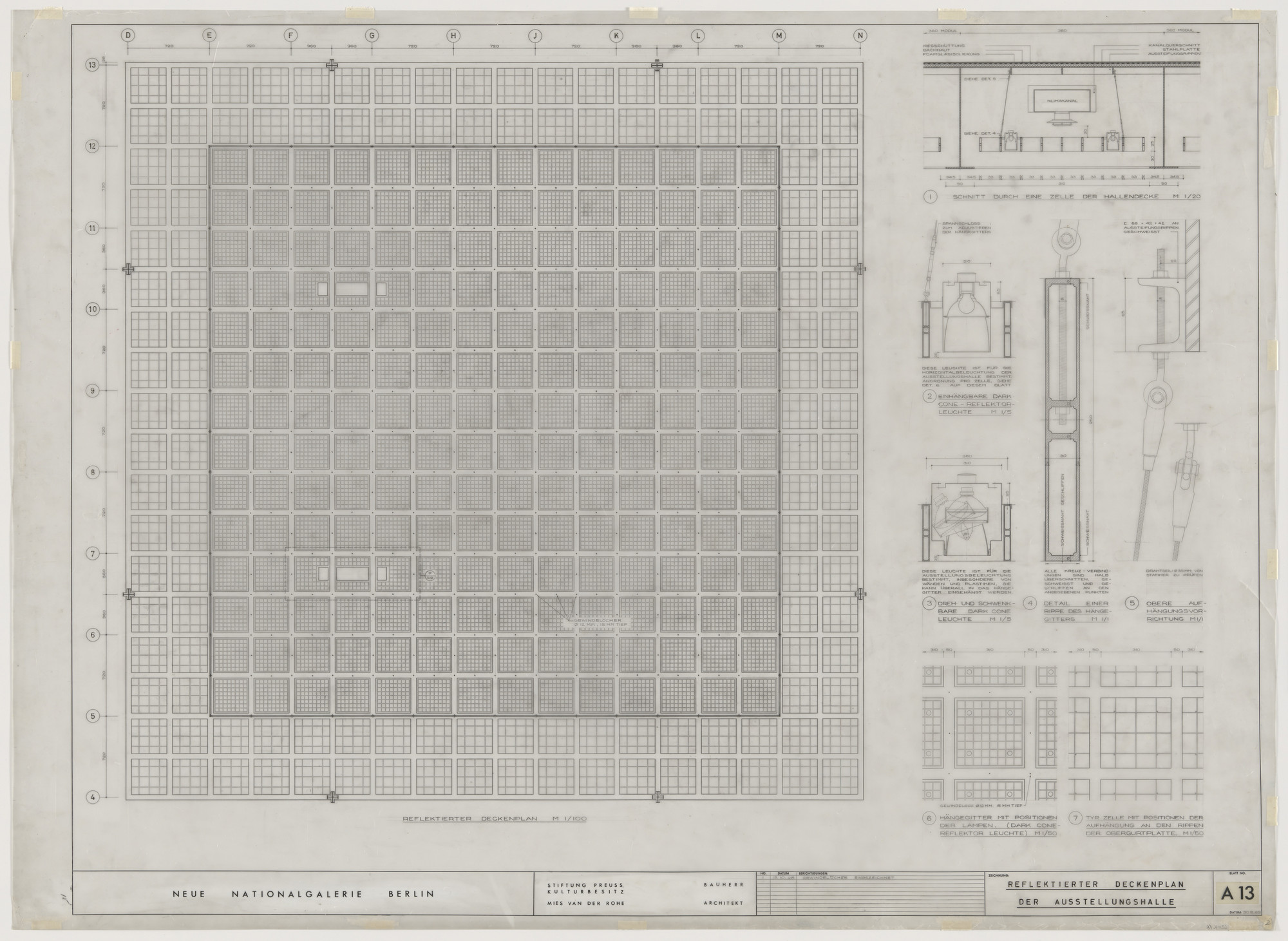 Ludwig Mies van der Rohe. New National Gallery, Berlin, Germany (Reflected ceiling plan at exhibition hall). c. 1962-68