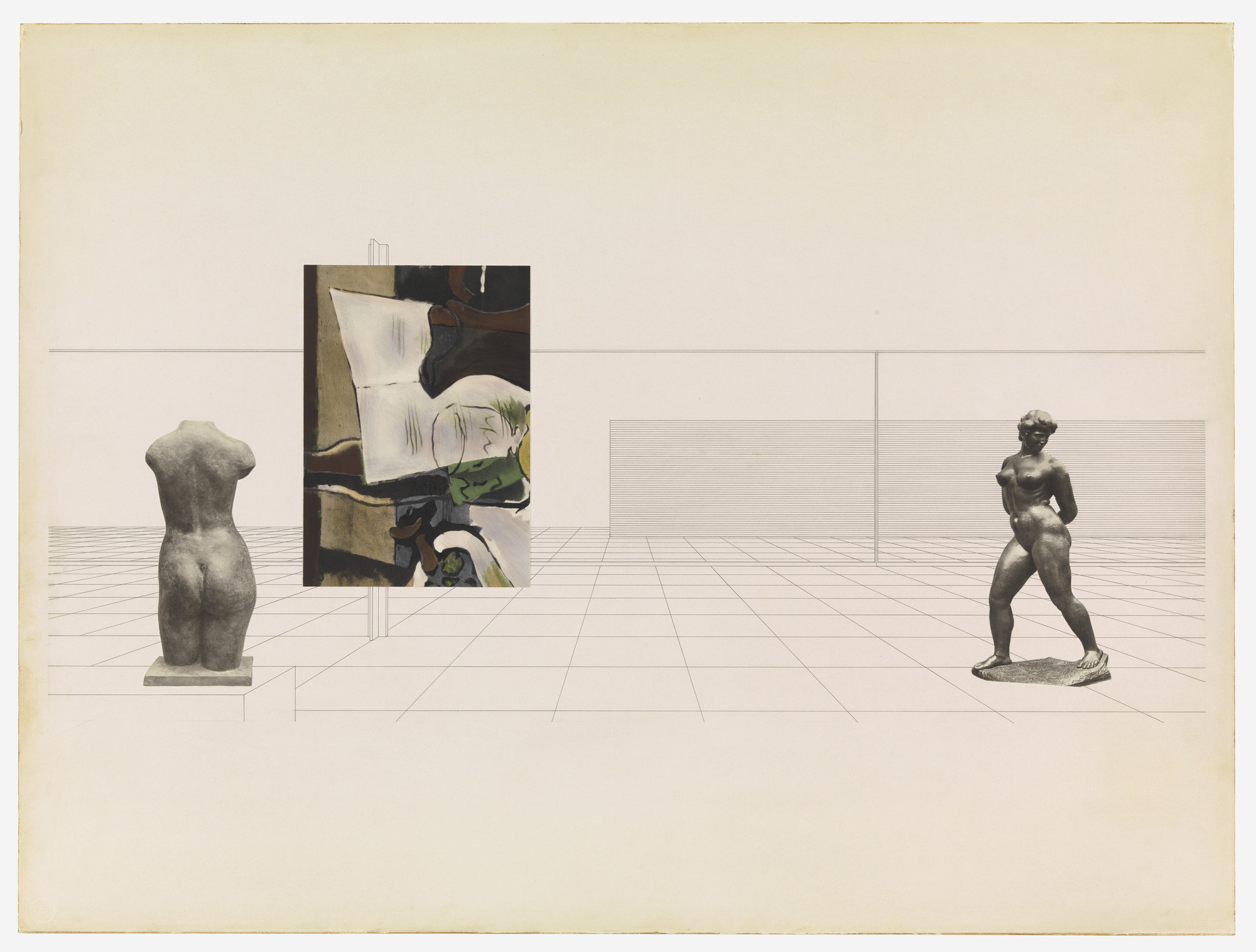Ludwig Mies van der Rohe. Museum for a Small City project (Interior perspective). 1941-43