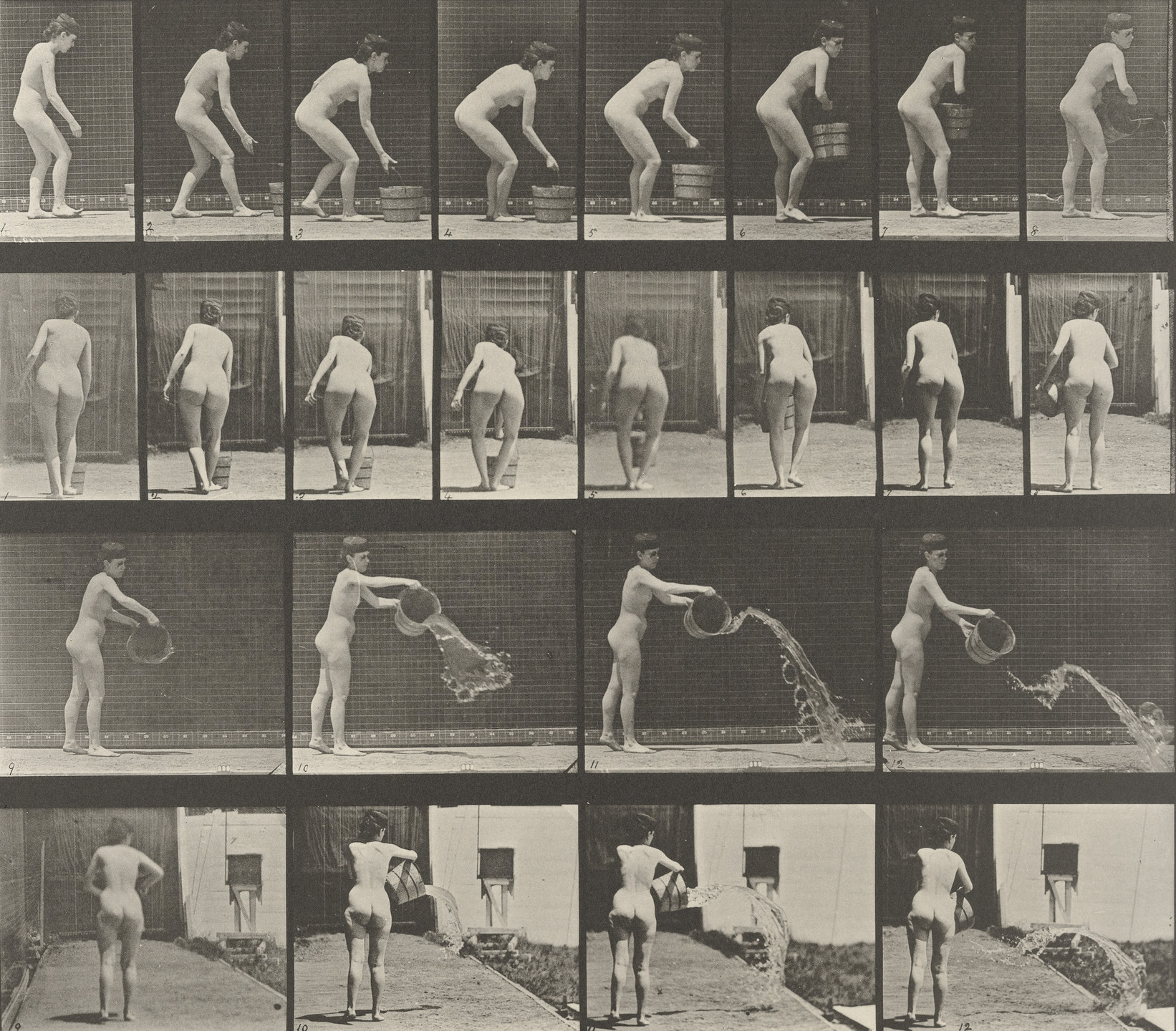 Eadweard J. Muybridge. Woman Emptying a Bucket of Water: Plate 401 from Animal Locomotion (1887). 1884-86