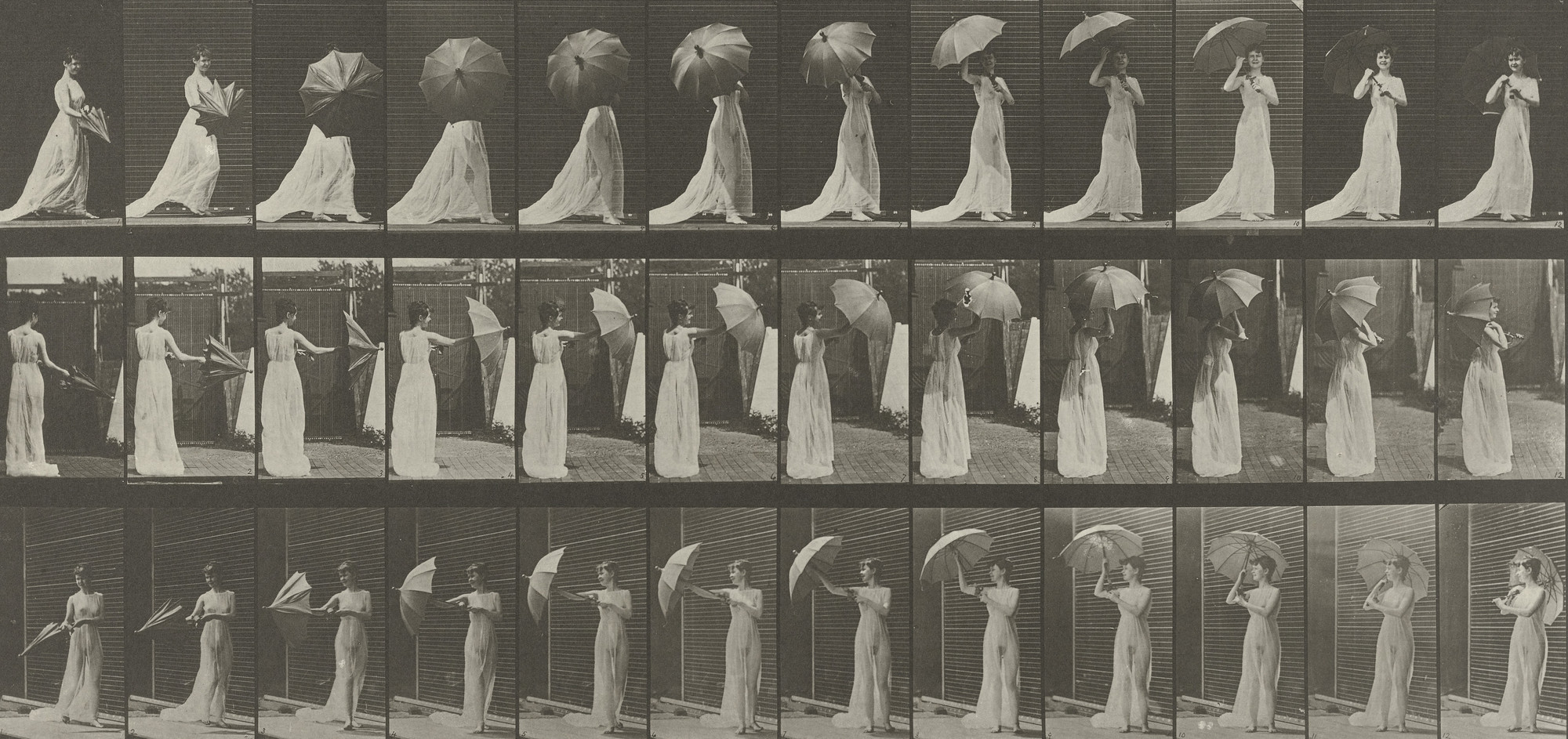 Eadweard J. Muybridge. Woman Opening a Parasol and Turning Around: Plate 461 from Animal Locomotion (1887). 1884-86