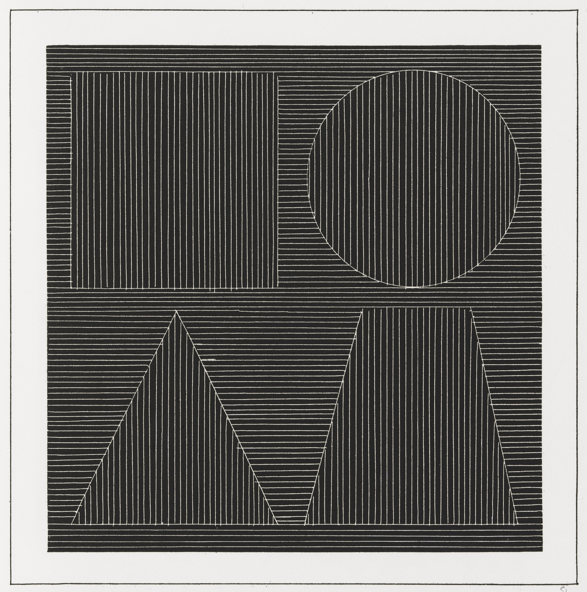 Sol LeWitt. Plate (folio 44) from Six Geometric Figures and All Their Combinations, Volume I. 1980