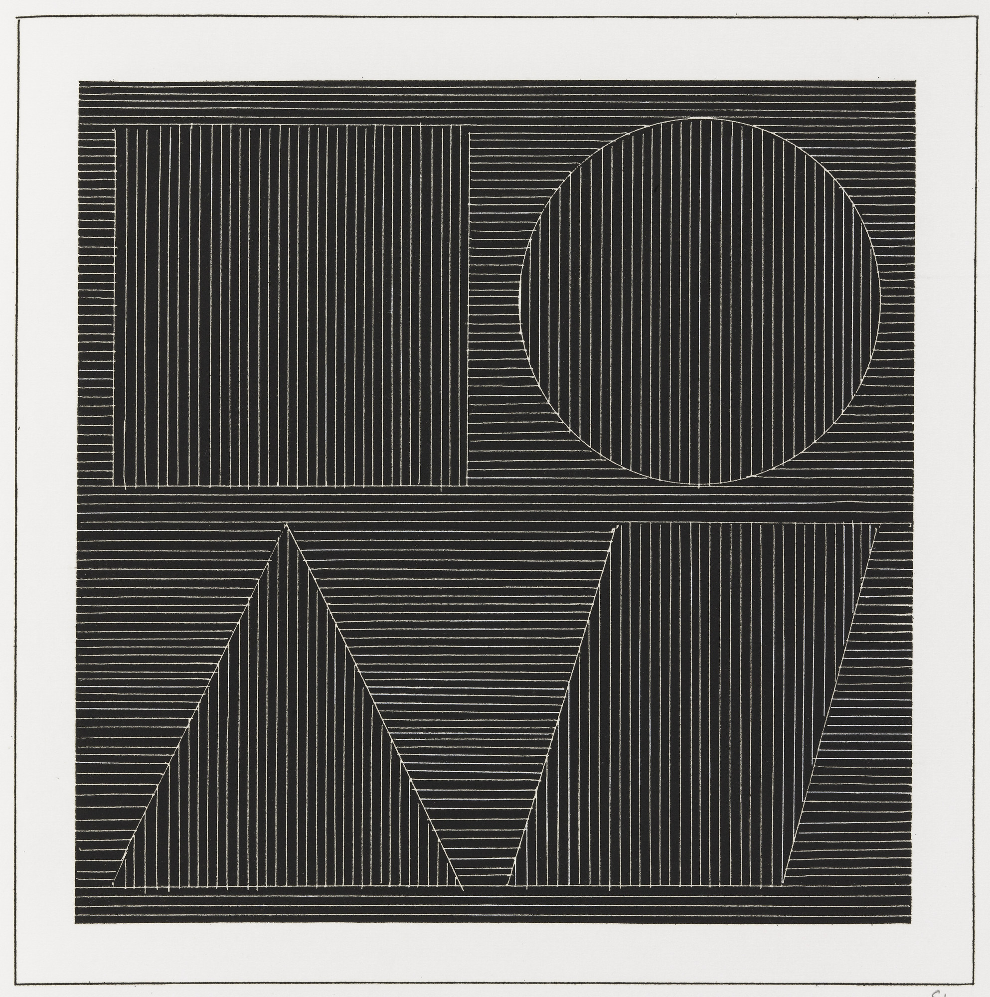 Sol LeWitt. Plate (folio 45) from Six Geometric Figures and All Their Combinations, Volume I. 1980