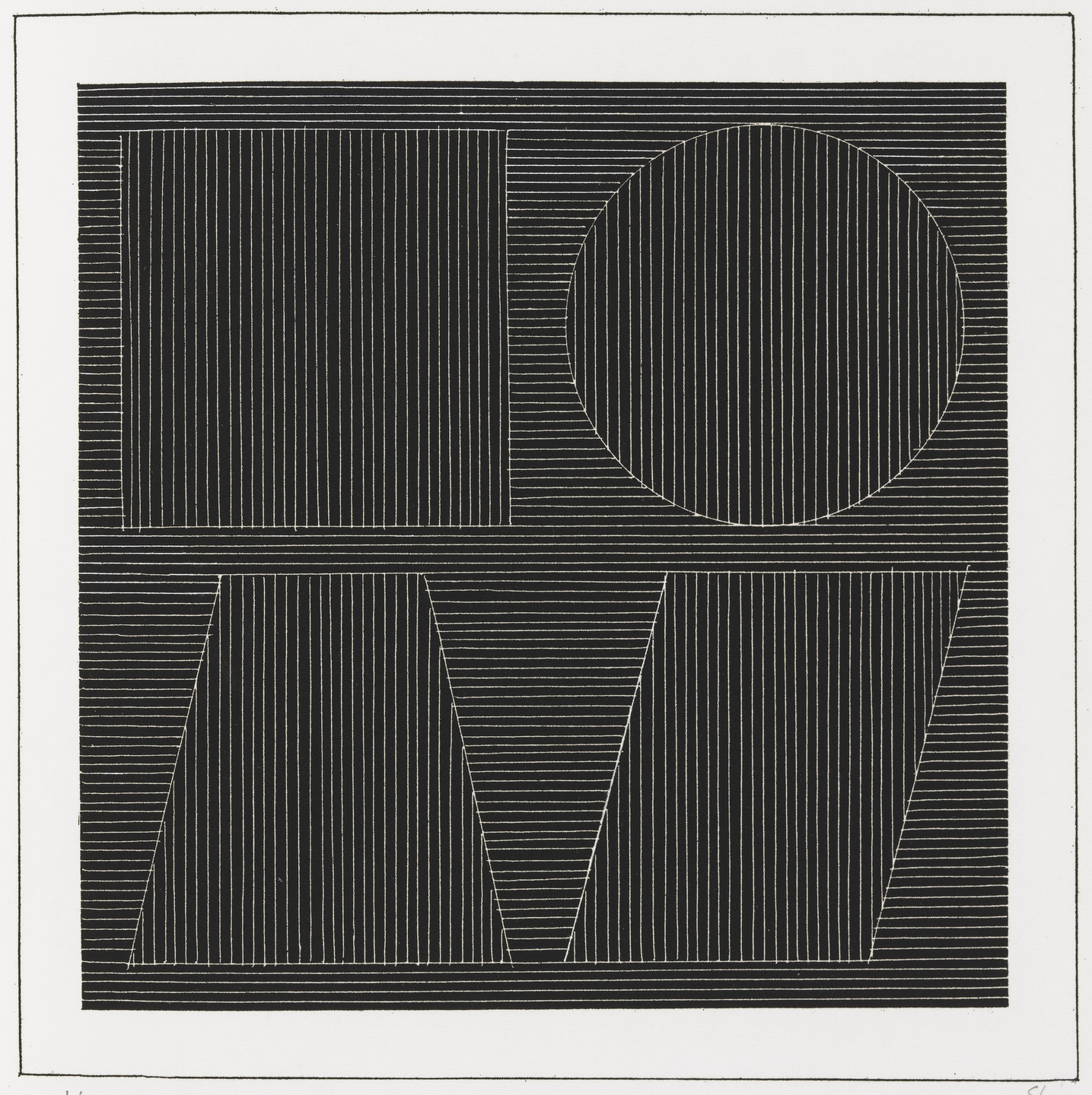 Sol LeWitt. Plate (folio 48) from Six Geometric Figures and All Their Combinations, Volume I. 1980