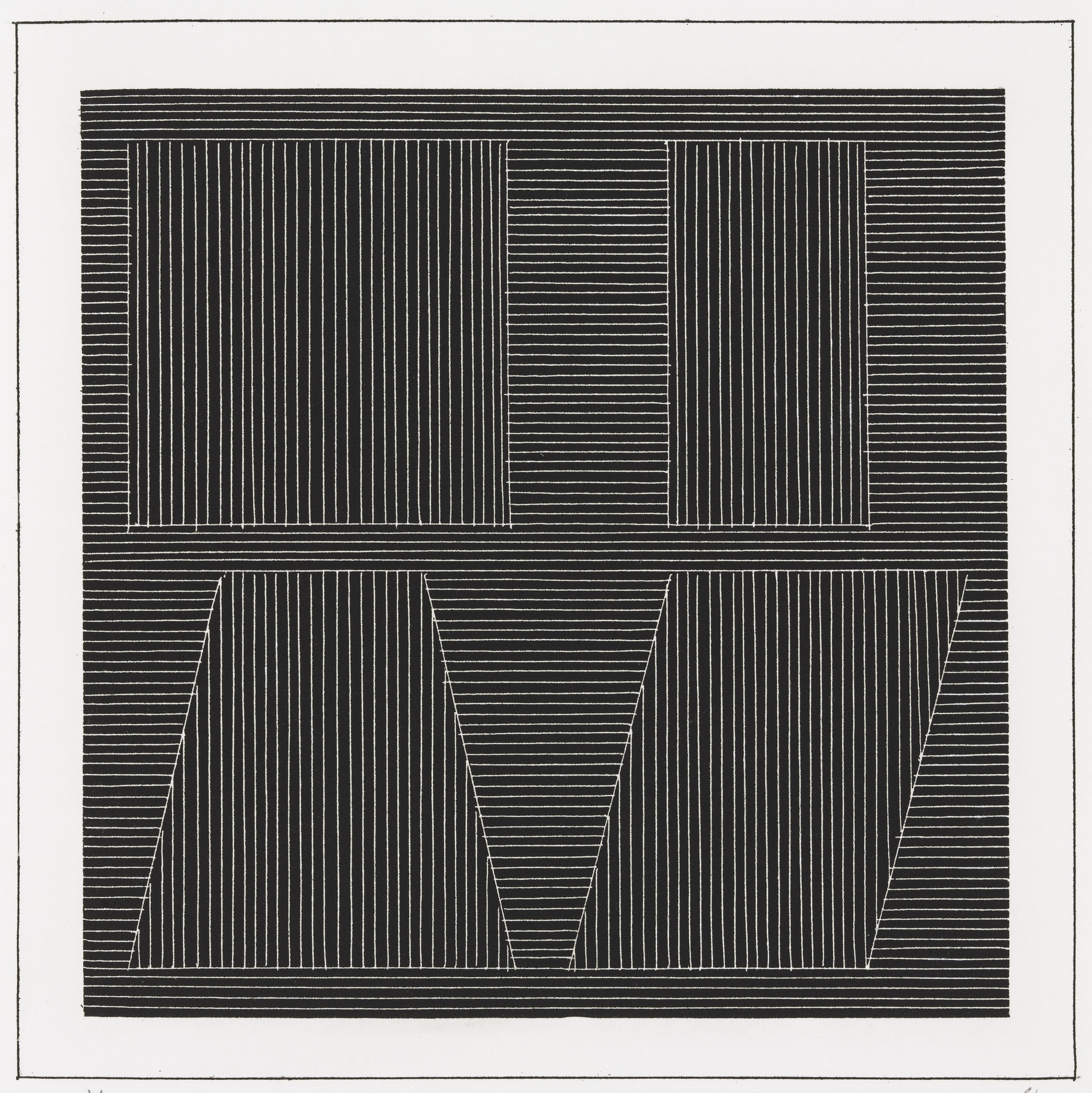 Sol LeWitt. Plate (folio 52) from Six Geometric Figures and All Their Combinations, Volume I. 1980