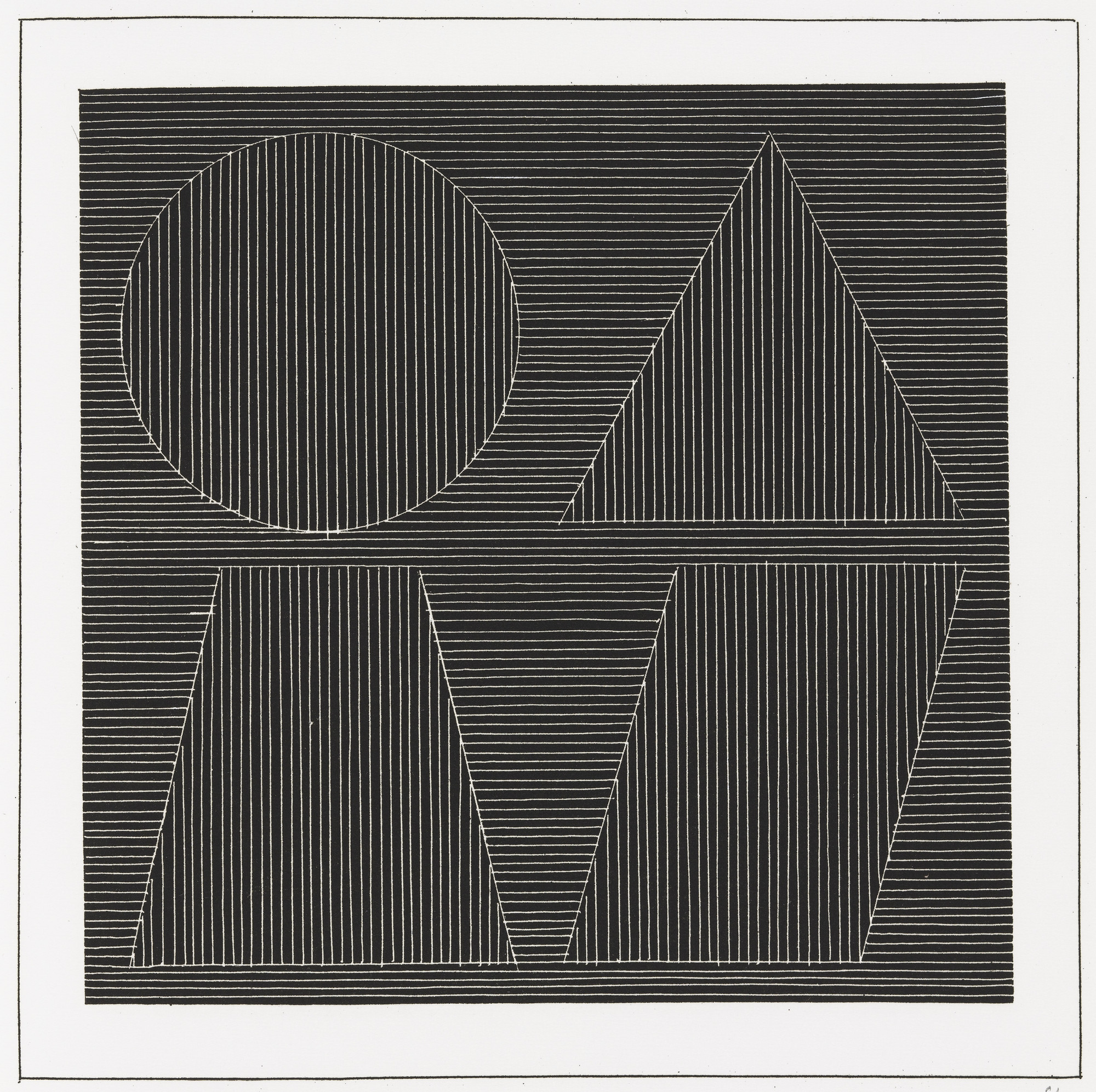 Sol LeWitt. Plate (folio 55) from Six Geometric Figures and All Their Combinations, Volume I. 1980