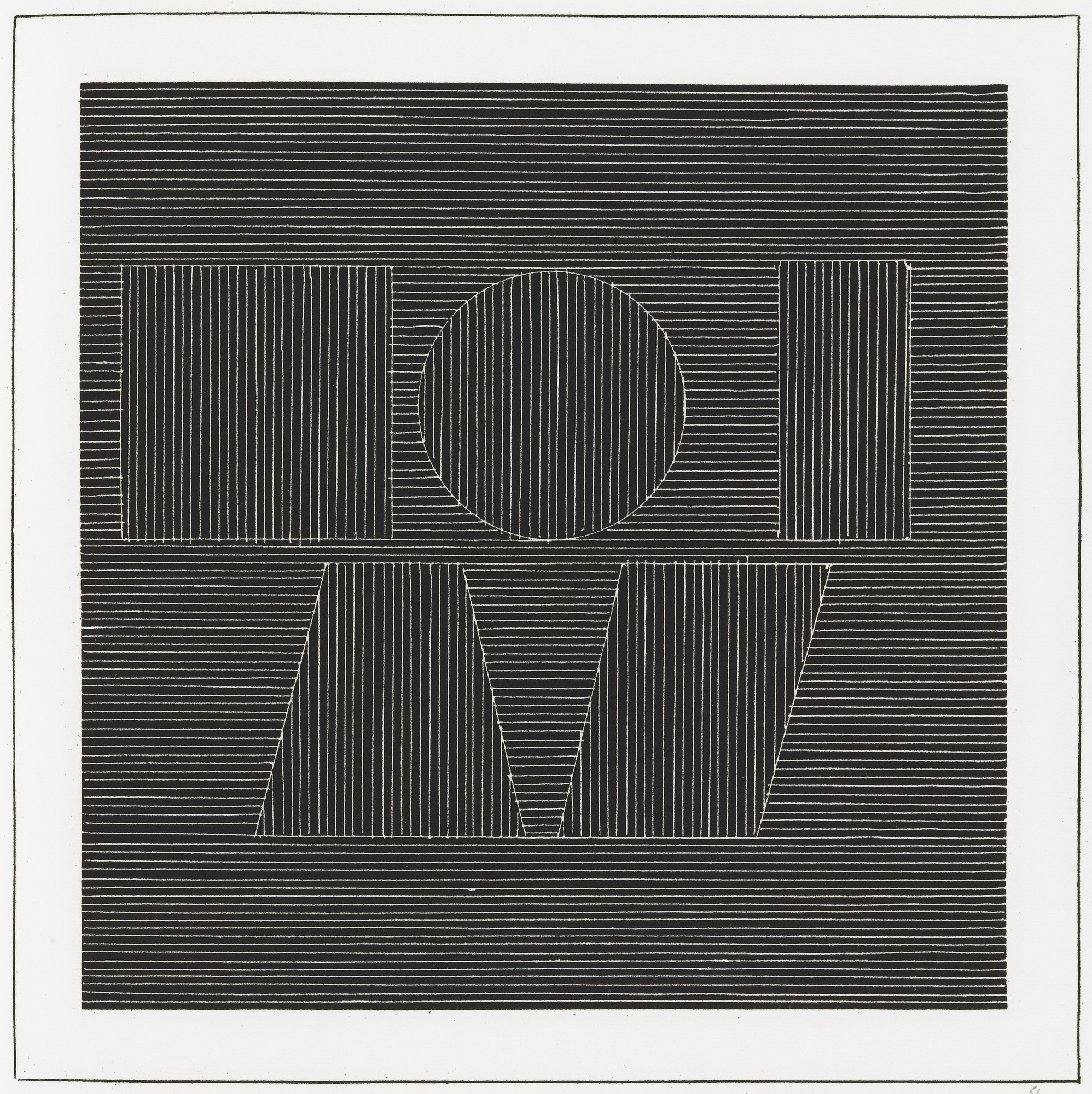 Sol LeWitt. Plate (folio 61) from Six Geometric Figures and All Their Combinations, Volume I. 1980