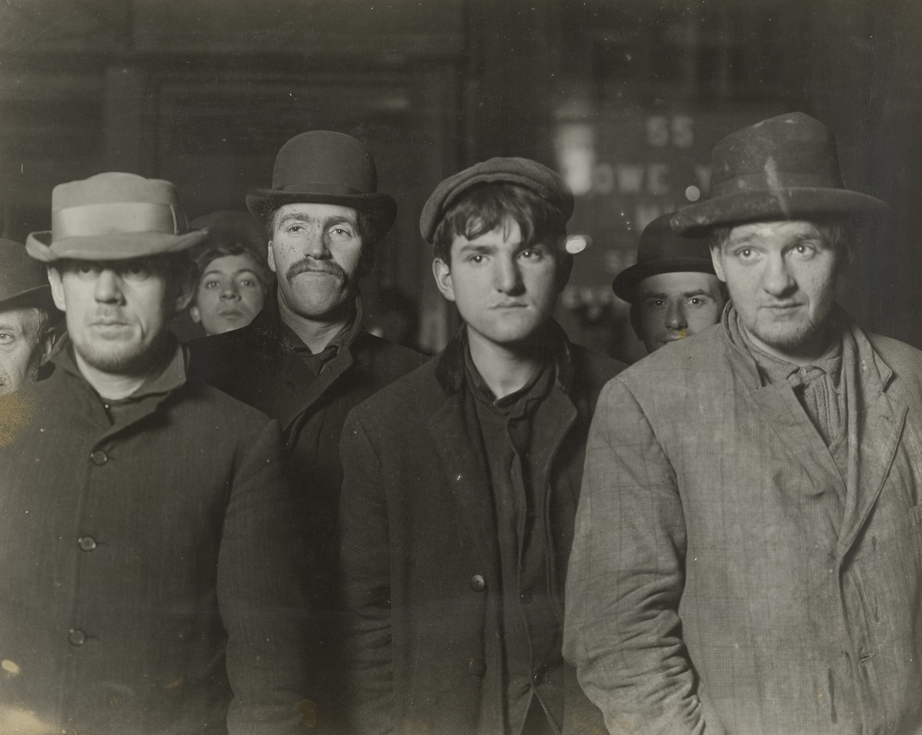 Lewis W. Hine. Bowery Mission Bread Line, 2 A.M.. 1906