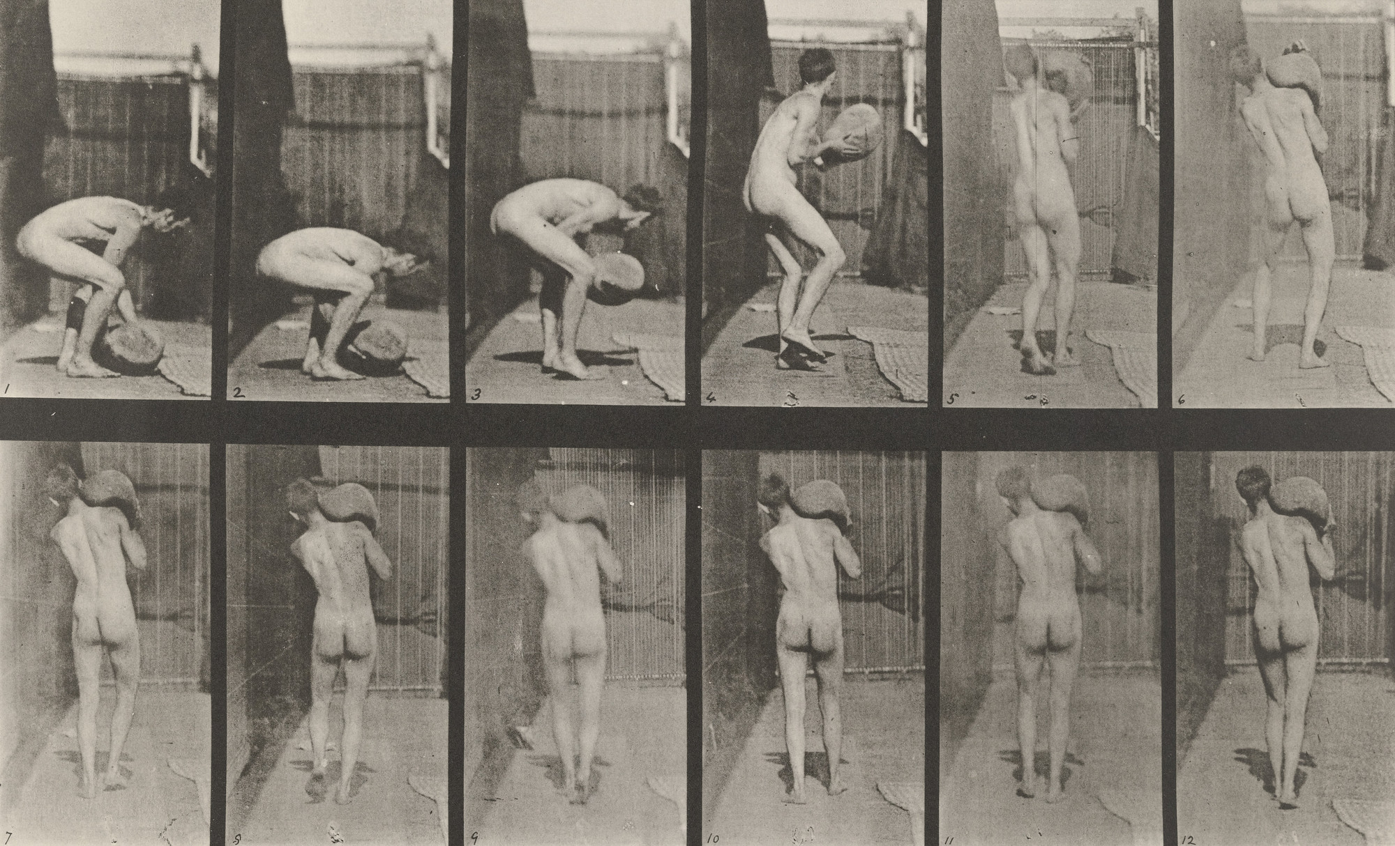 Eadweard J. Muybridge. Man Lifting 75-lb. Stone on Shoulder: Plate 397 from Animal Locomotion (1887). 1884-86