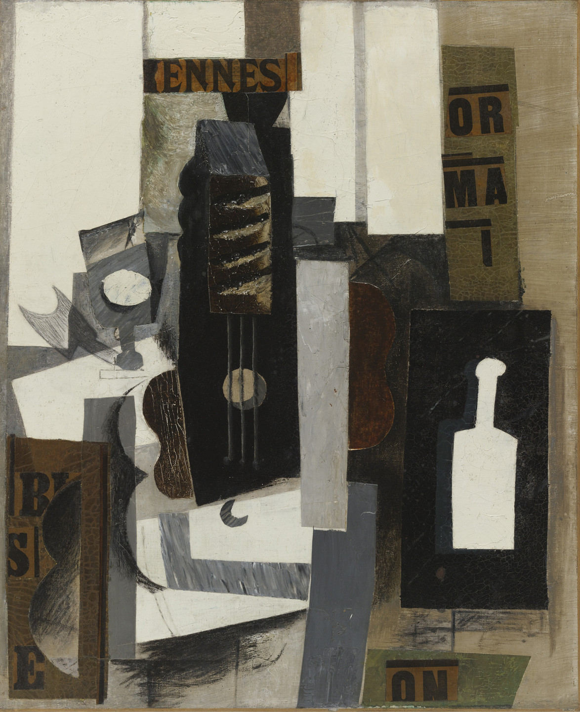 Pablo Picasso. Glass, Guitar, and Bottle. Paris, early 1913