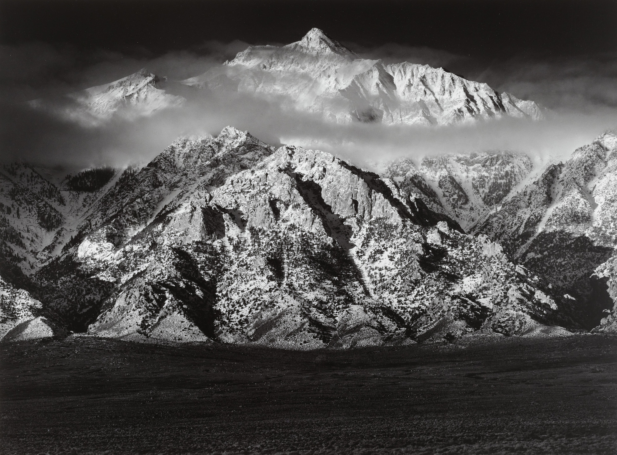 Ansel Adams. Mount Williamson, Sierra Nevada, from the Owens Valley, California. 1944
